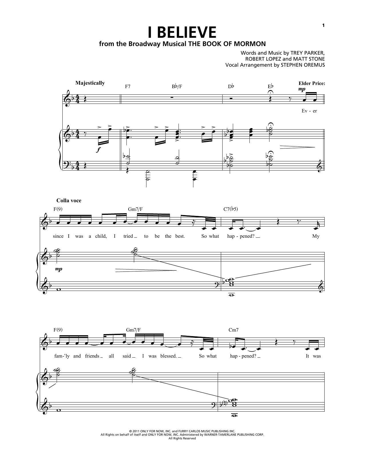 I Believe (from The Book of Mormon) Sheet Music