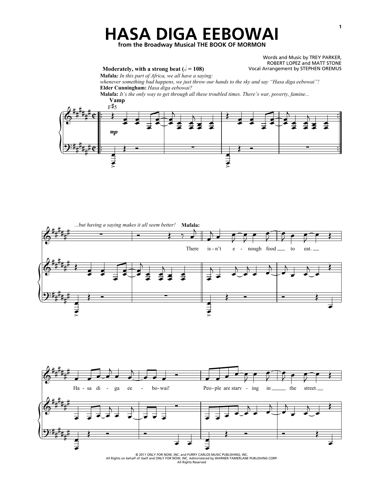 Hasa Diga Eebowai (from The Book of Mormon) Sheet Music