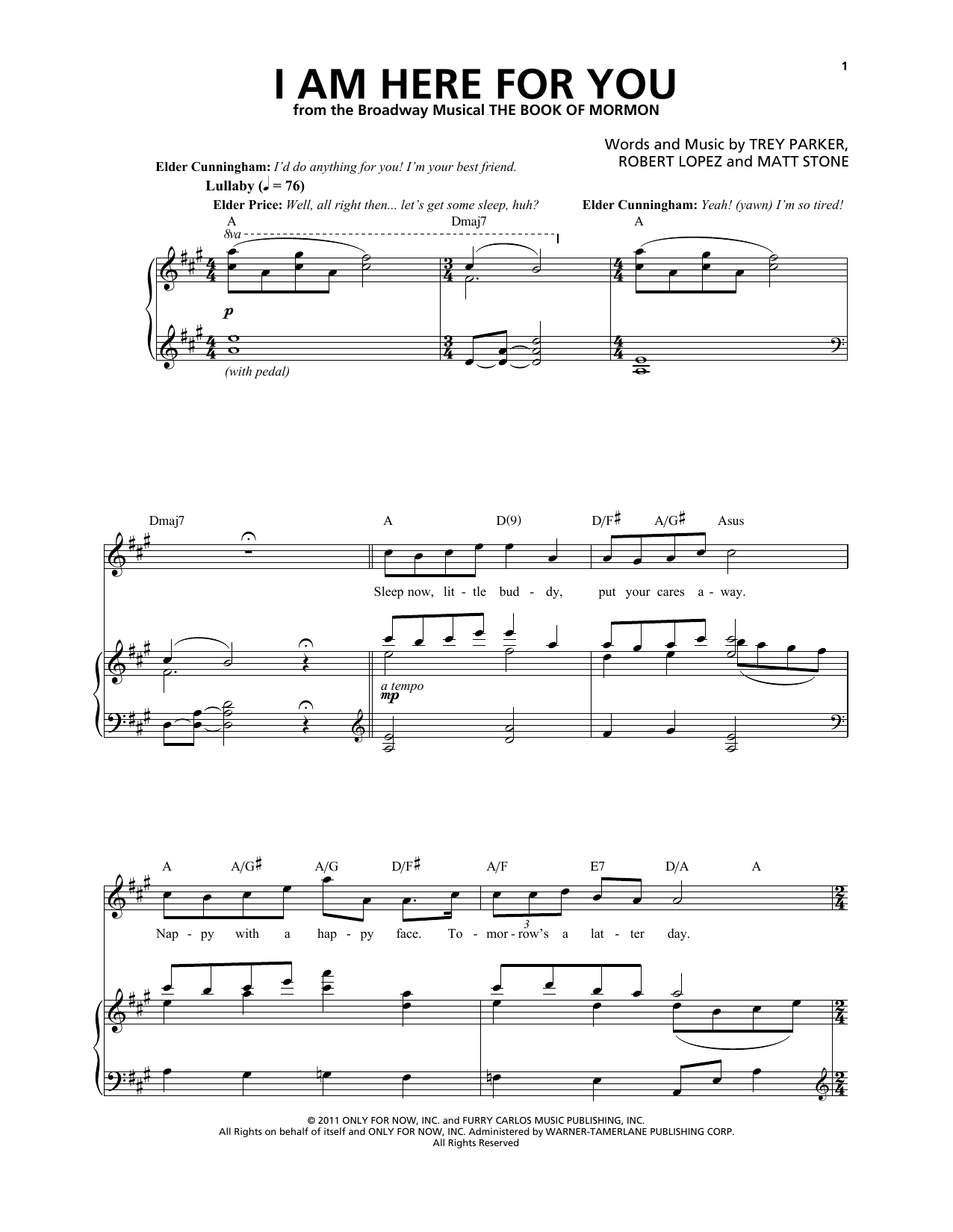 I Am Here For You (from The Book of Mormon) Sheet Music