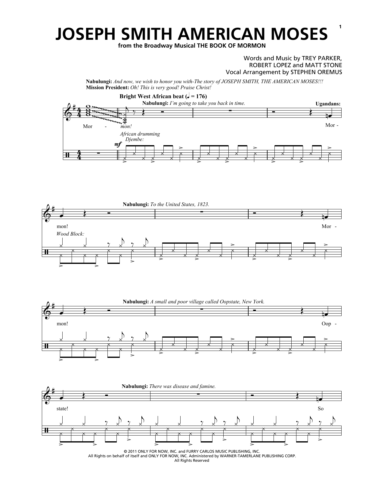 Joseph Smith American Moses (from The Book of Mormon) Sheet Music