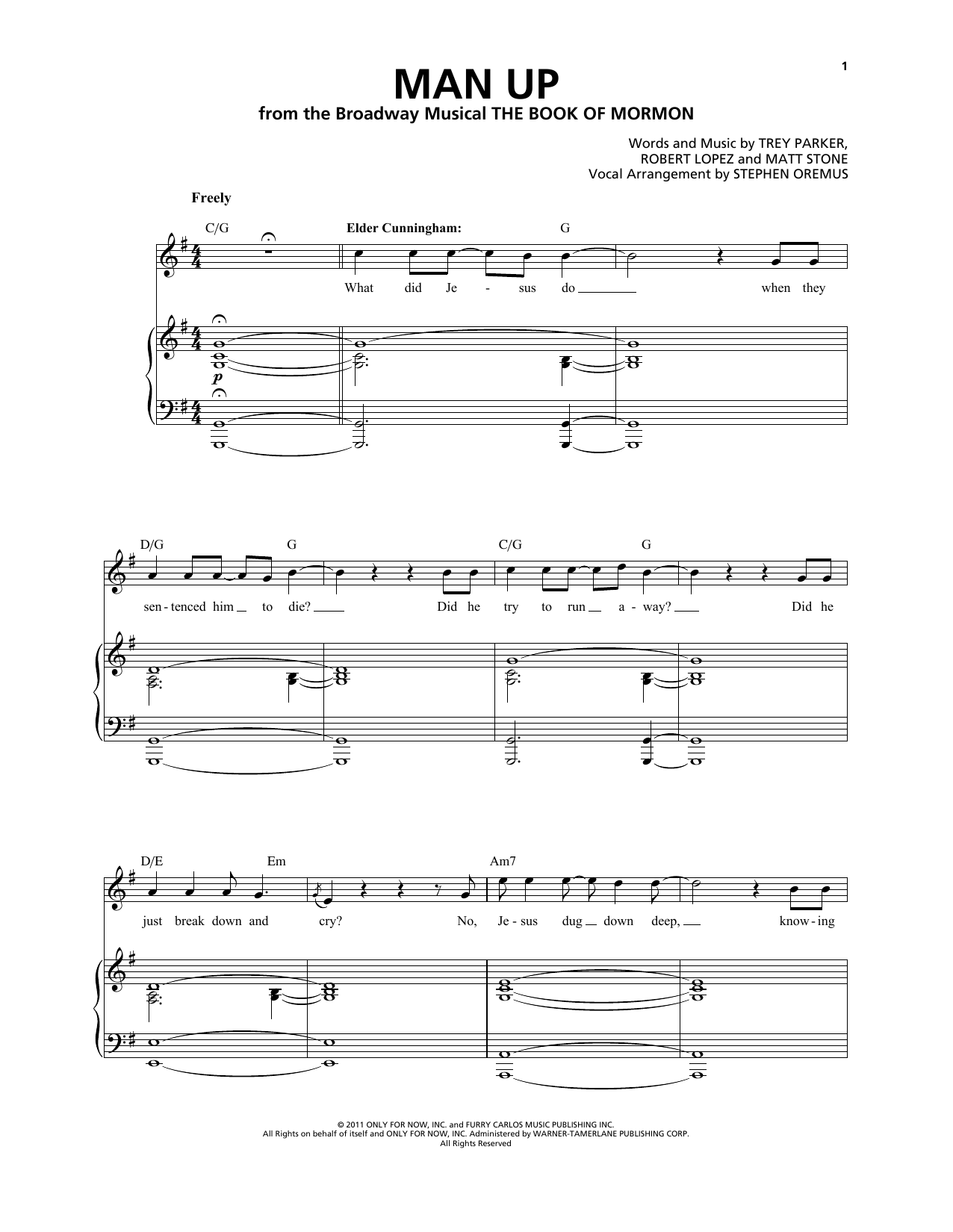 Man Up (from The Book of Mormon) Sheet Music