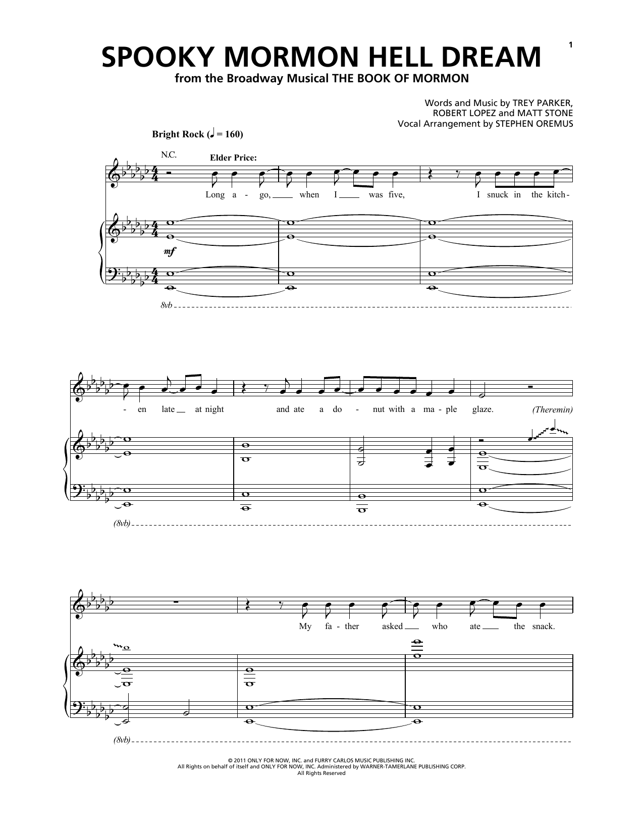 Spooky Mormon Hell Dream (from The Book of Mormon) Sheet Music