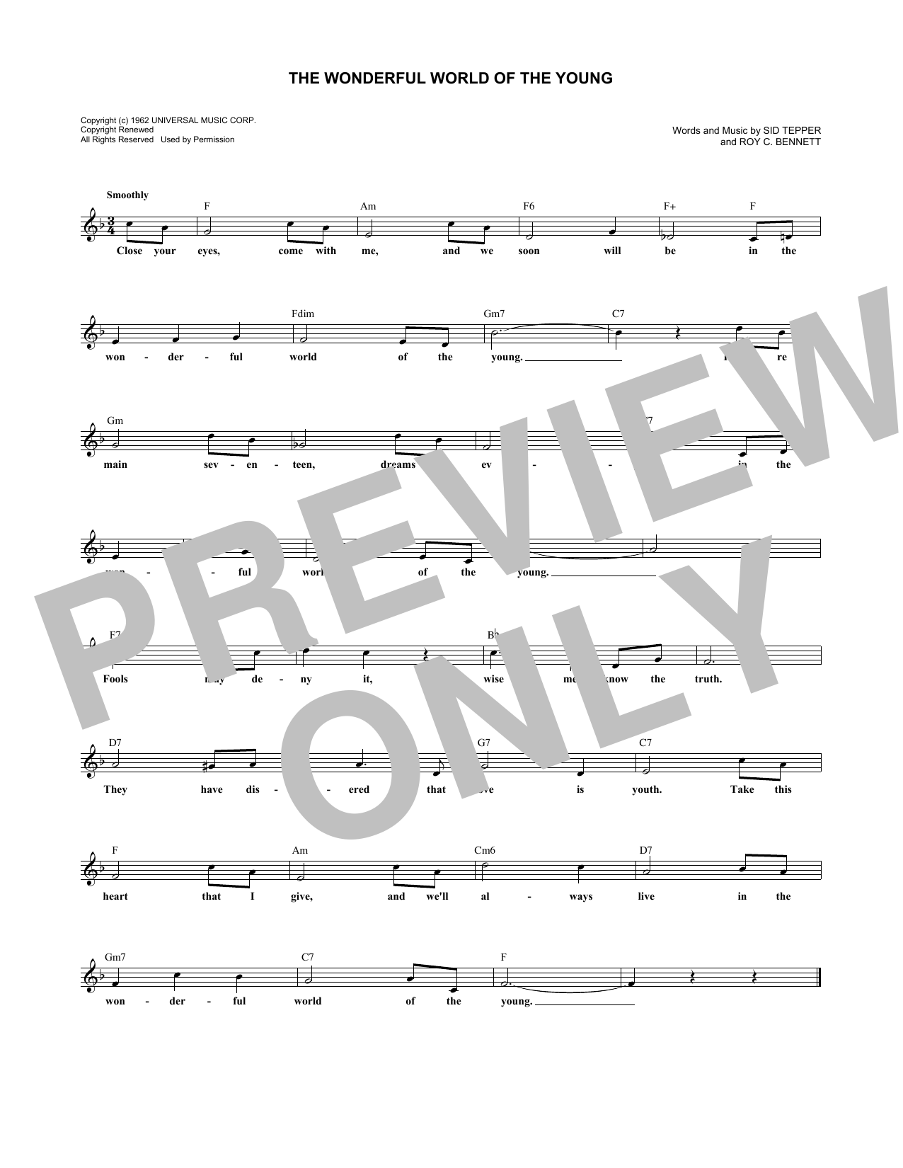 The Wonderful World Of The Young (Lead Sheet / Fake Book)