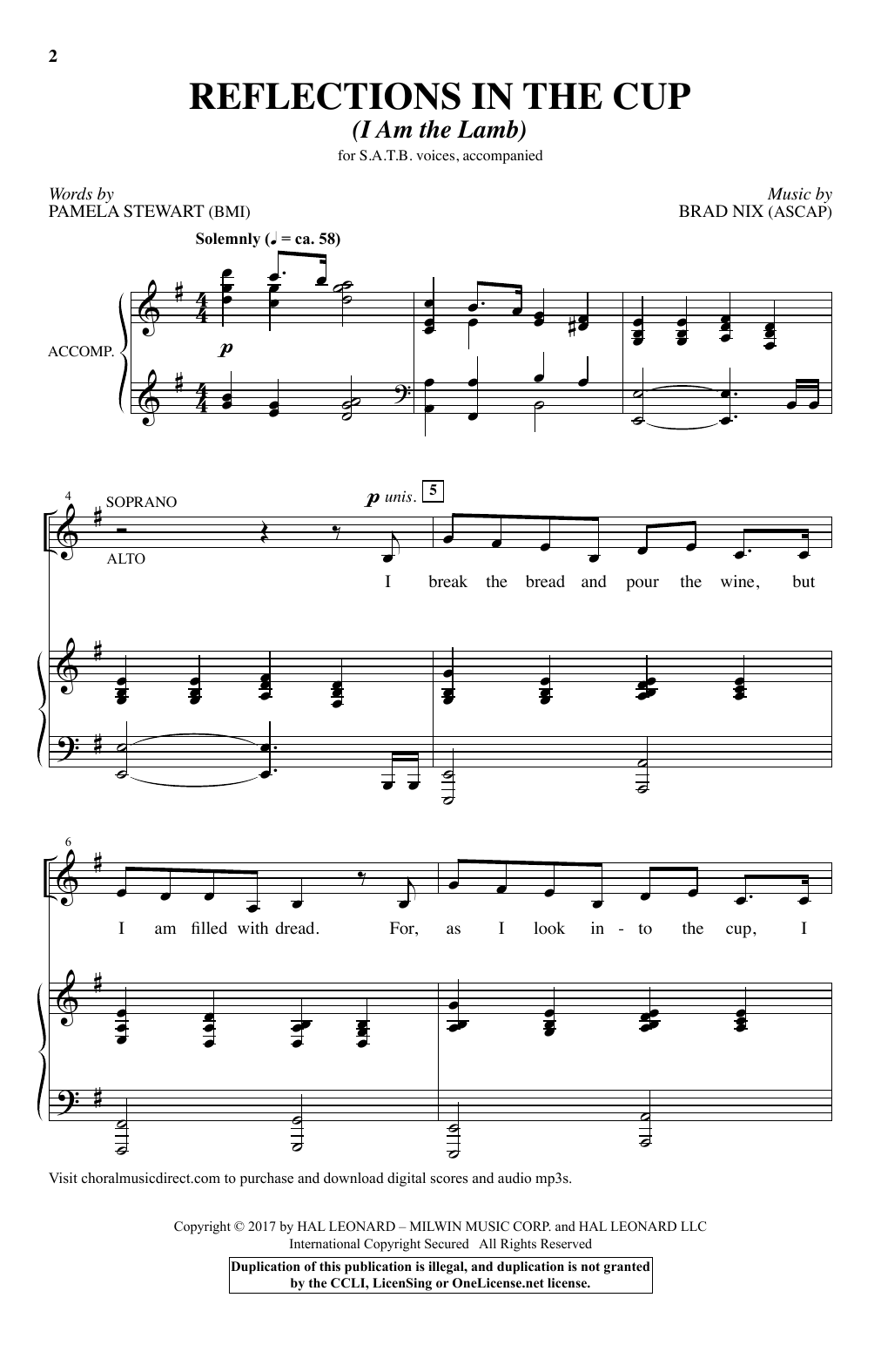 Reflections In The Cup (I Am The Lamb) Sheet Music