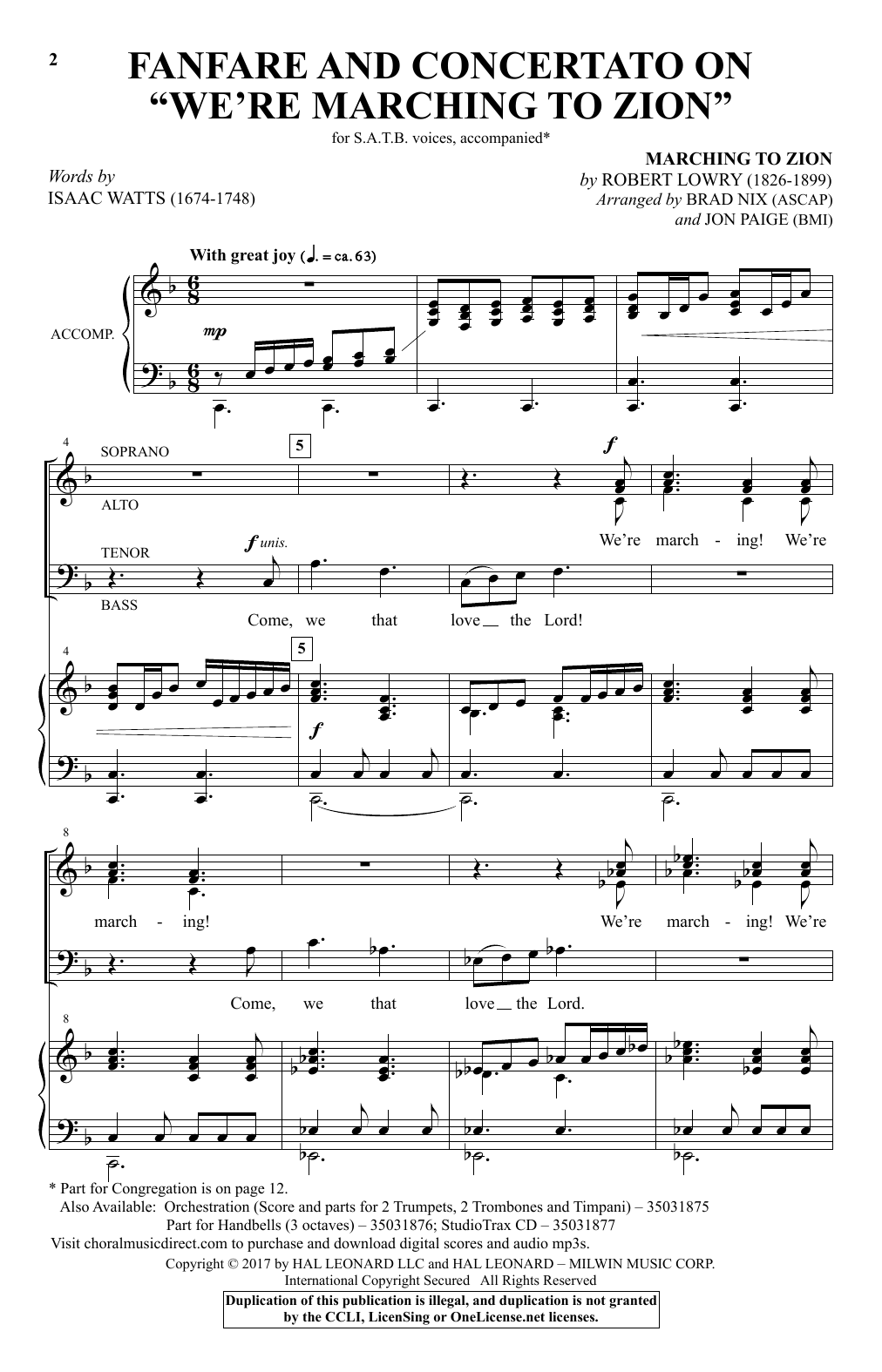 "Fanfare And Concertato On ""We're Marching To Zion"" Sheet Music"