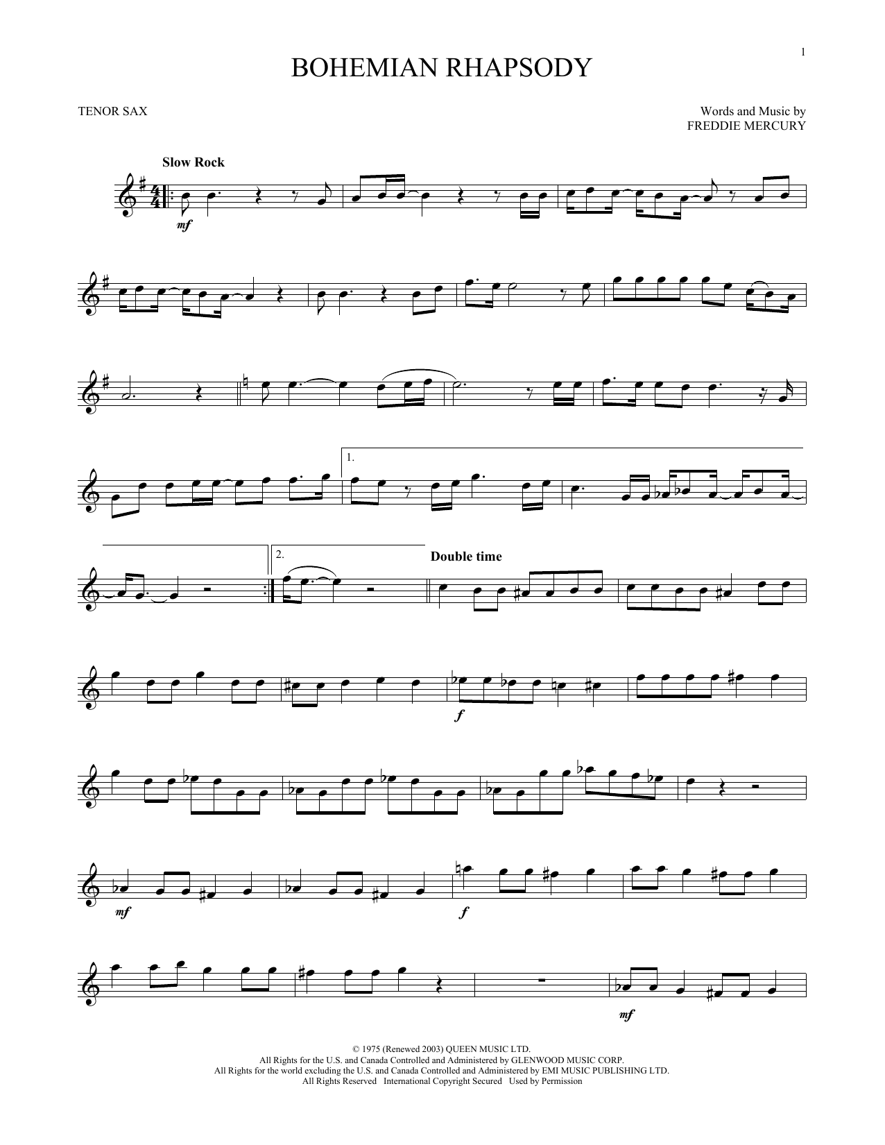 Bohemian Rhapsody (Tenor Sax Solo)