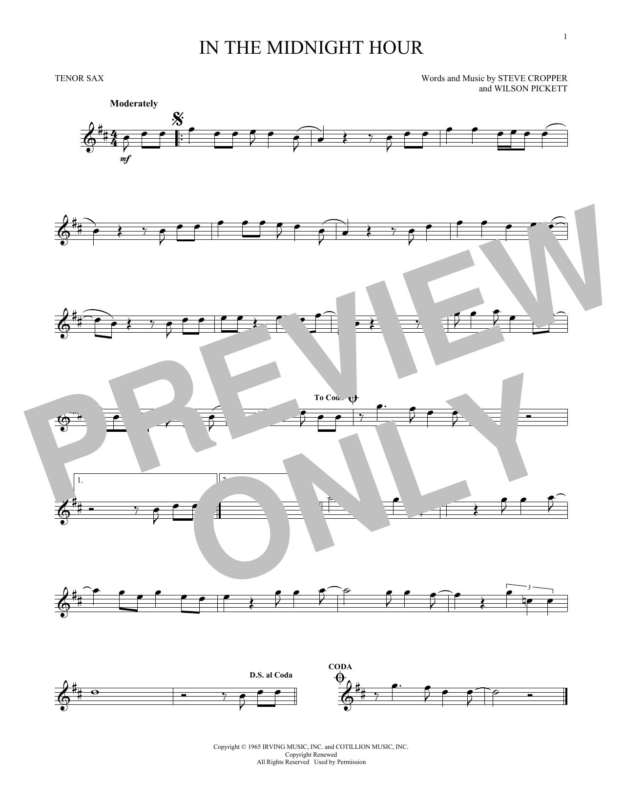 In The Midnight Hour saxophone sheet music by Wilson Pickett - Tenor Sax