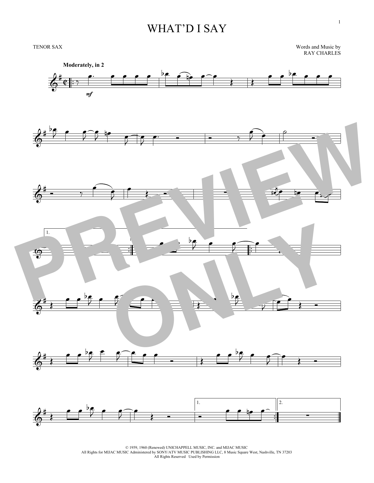 What'd I Say (Tenor Sax Solo)
