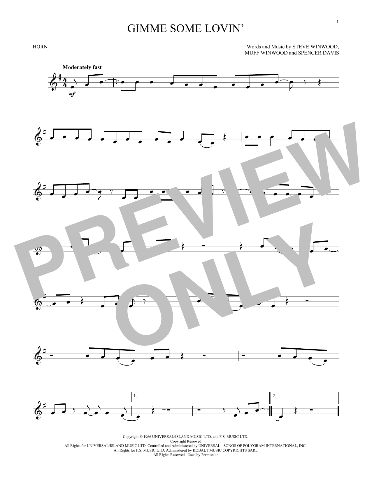 Gimme Some Lovin' (French Horn Solo)