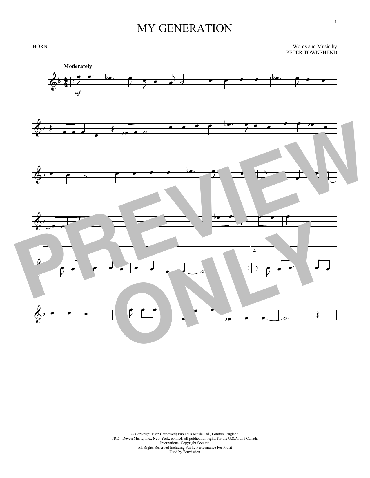 My Generation (French Horn Solo)