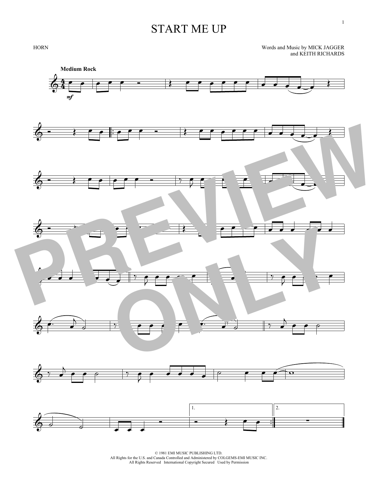 Start Me Up (French Horn Solo)