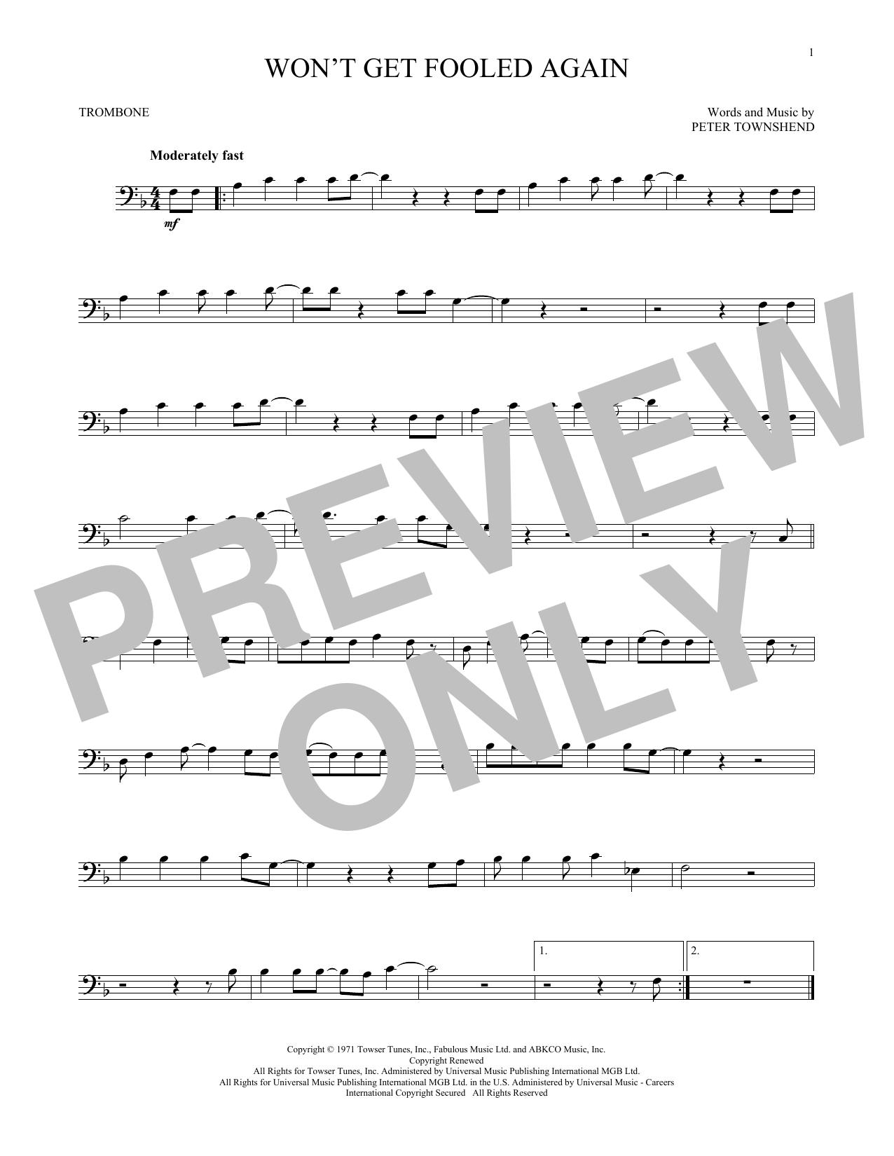 Won't Get Fooled Again (Trombone Solo)