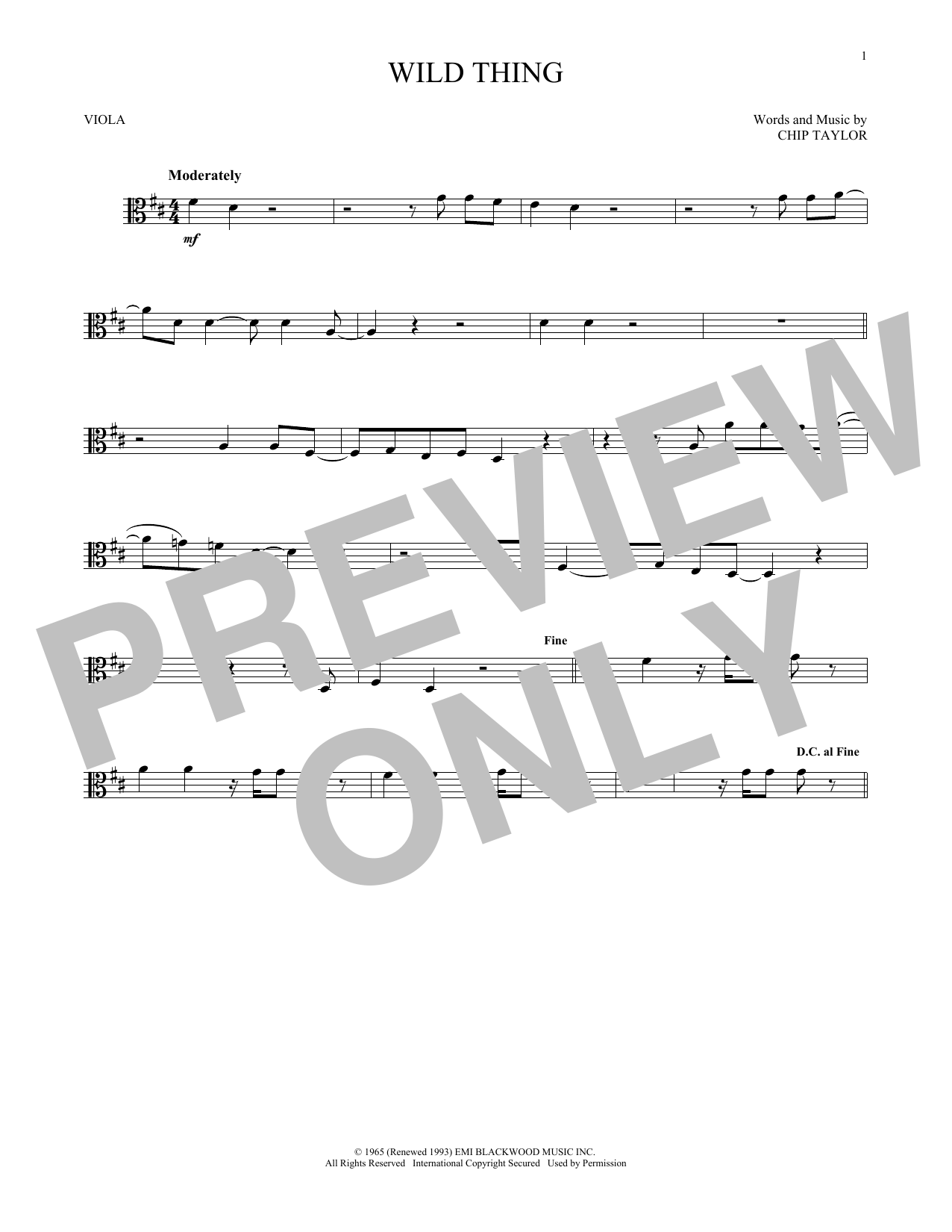 Wild Thing (Viola Solo)