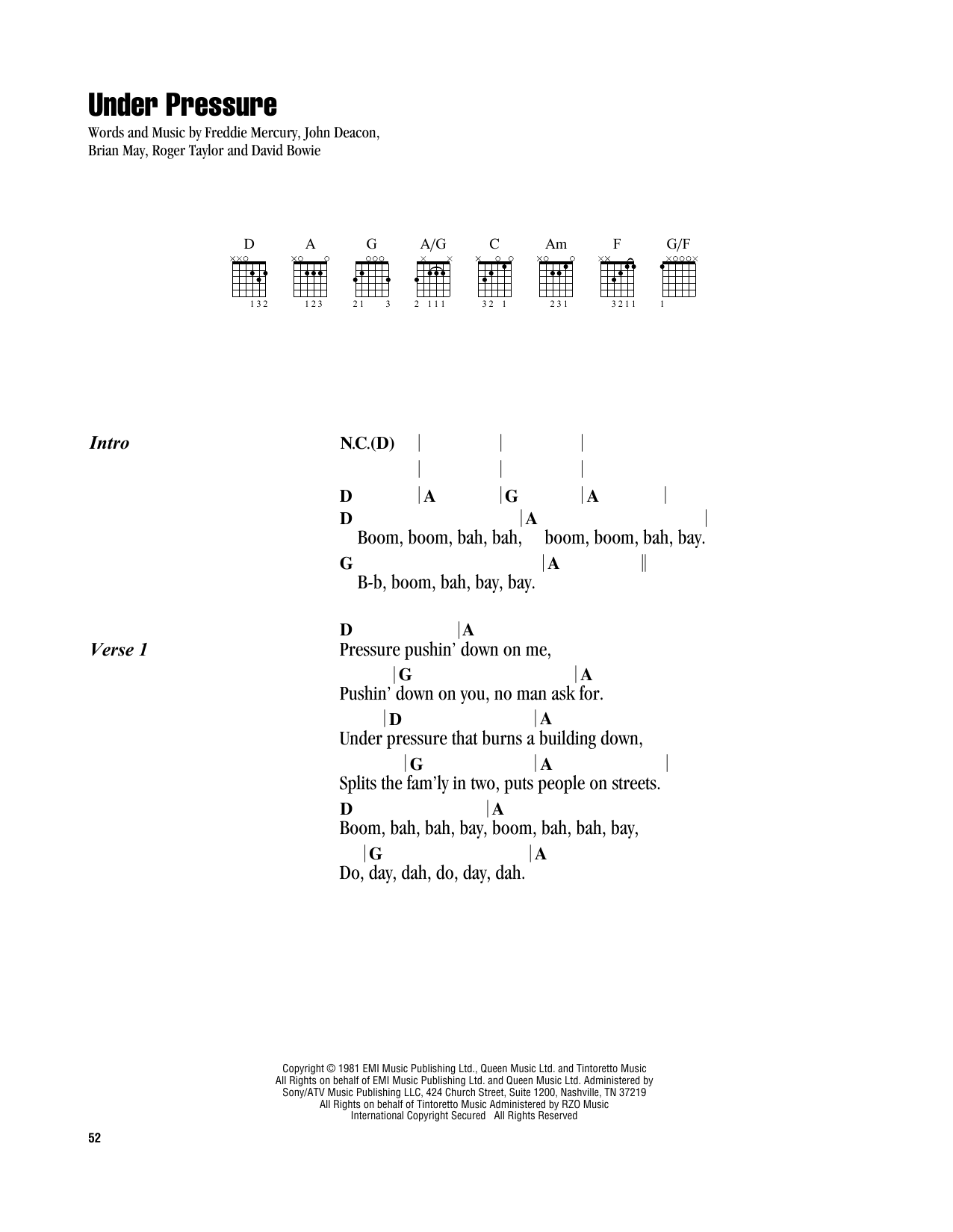 Under Pressure (Guitar Chords/Lyrics)