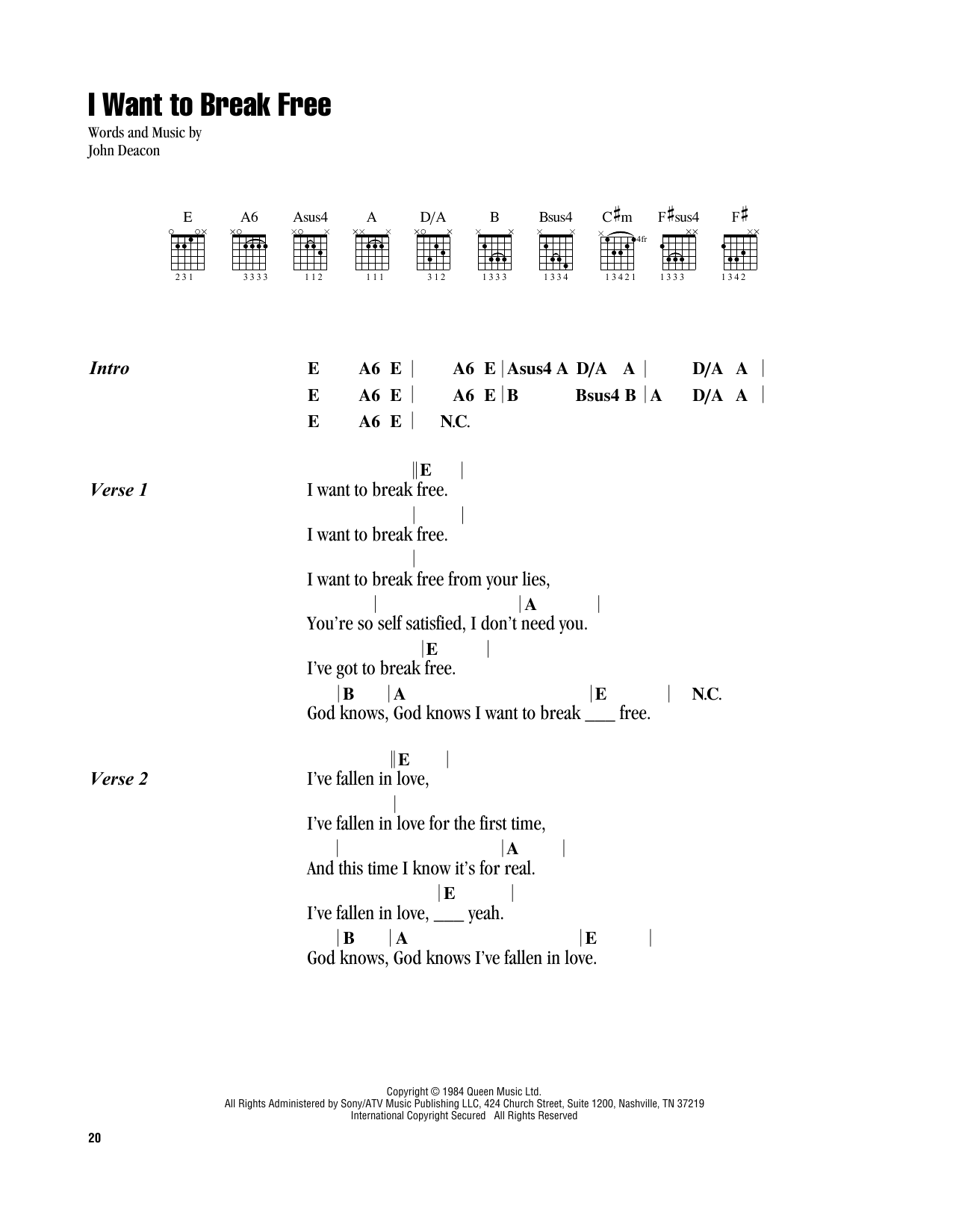 I Want To Break Free (Guitar Chords/Lyrics)
