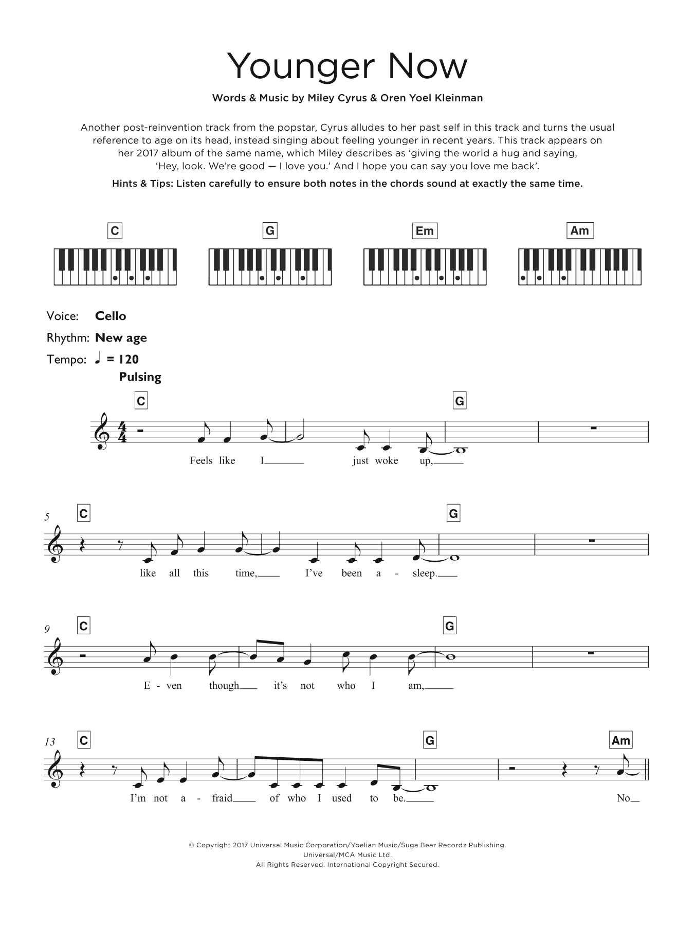 Younger Now Sheet Music
