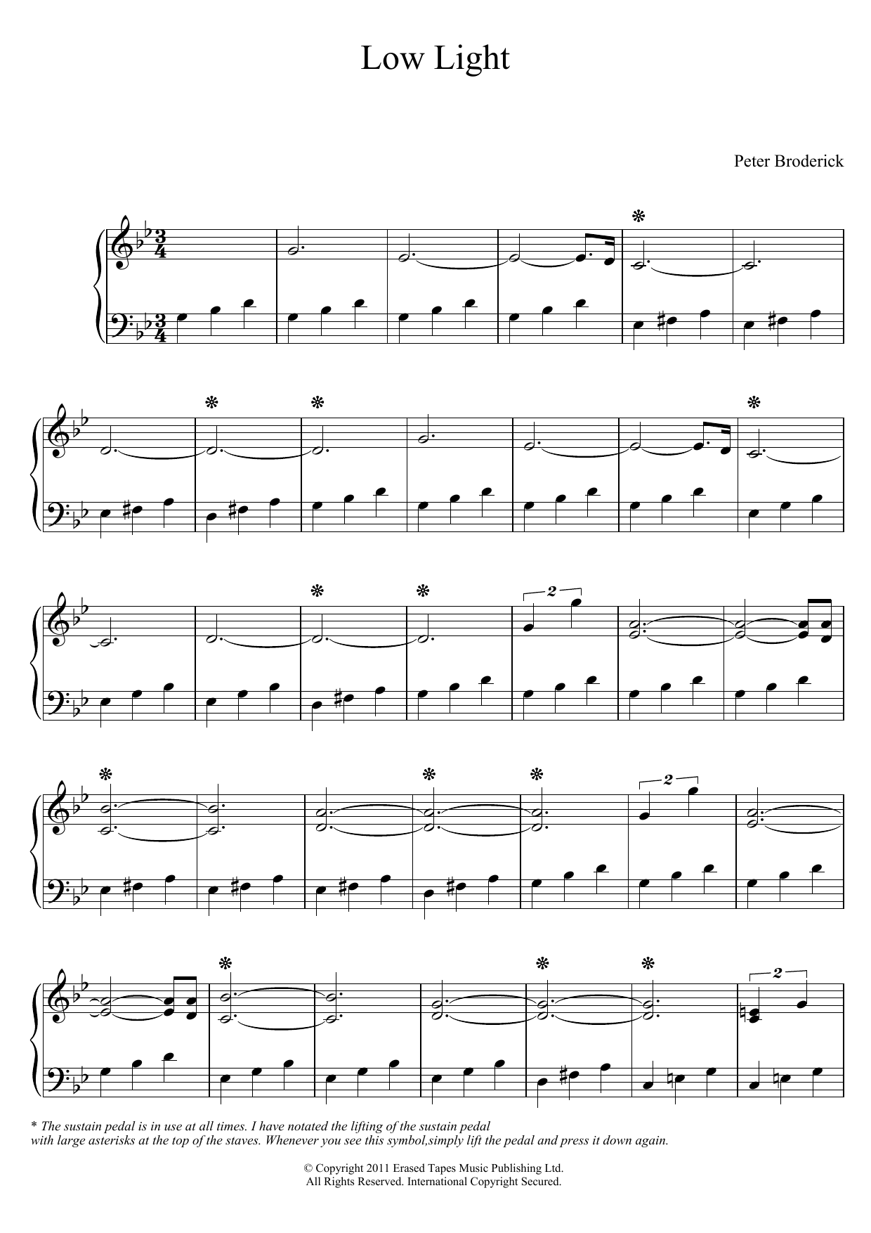Low Light Sheet Music