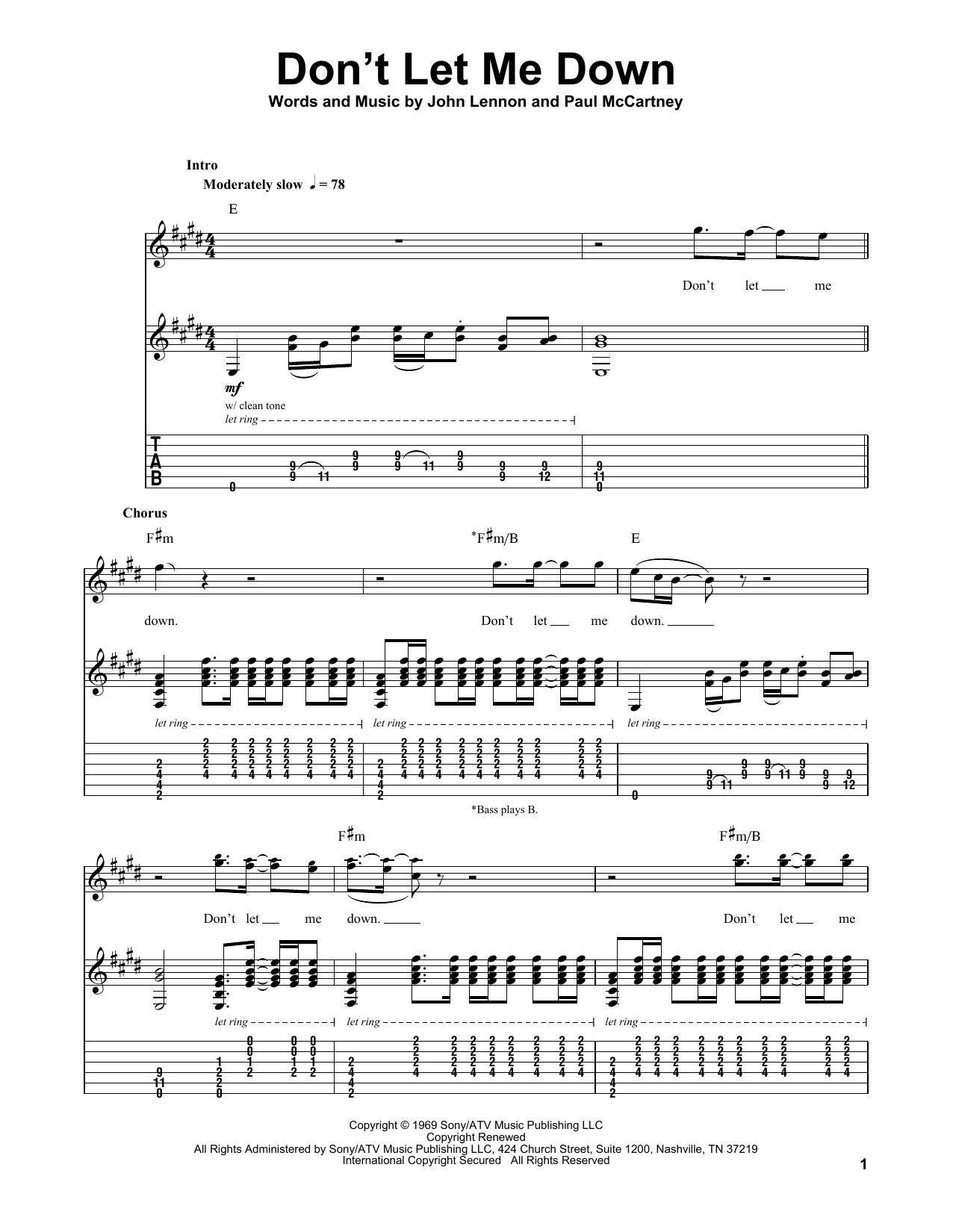 Don't Let Me Down (Guitar Tab (Single Guitar))