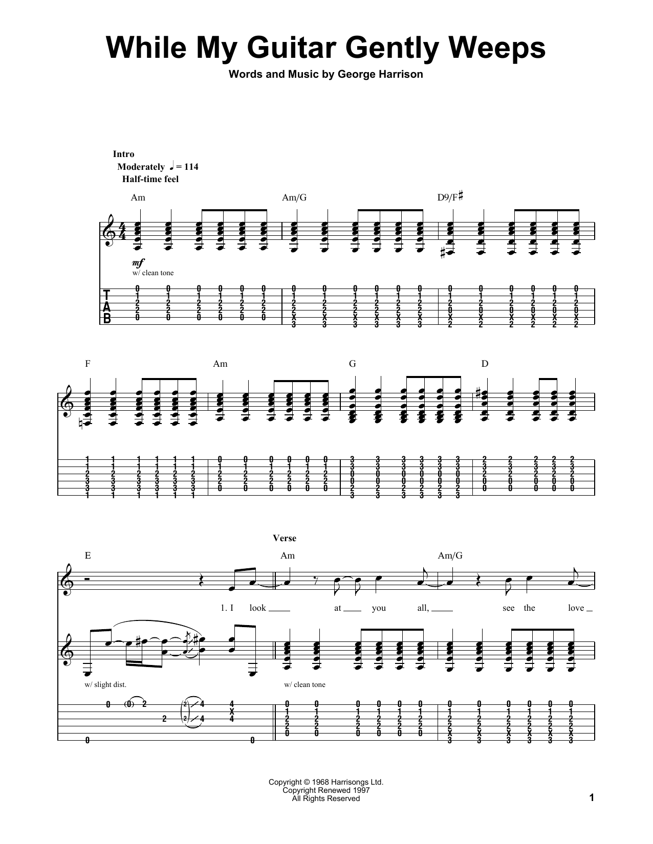 page one of While My Guitar Gently WeepsASALTTEXT