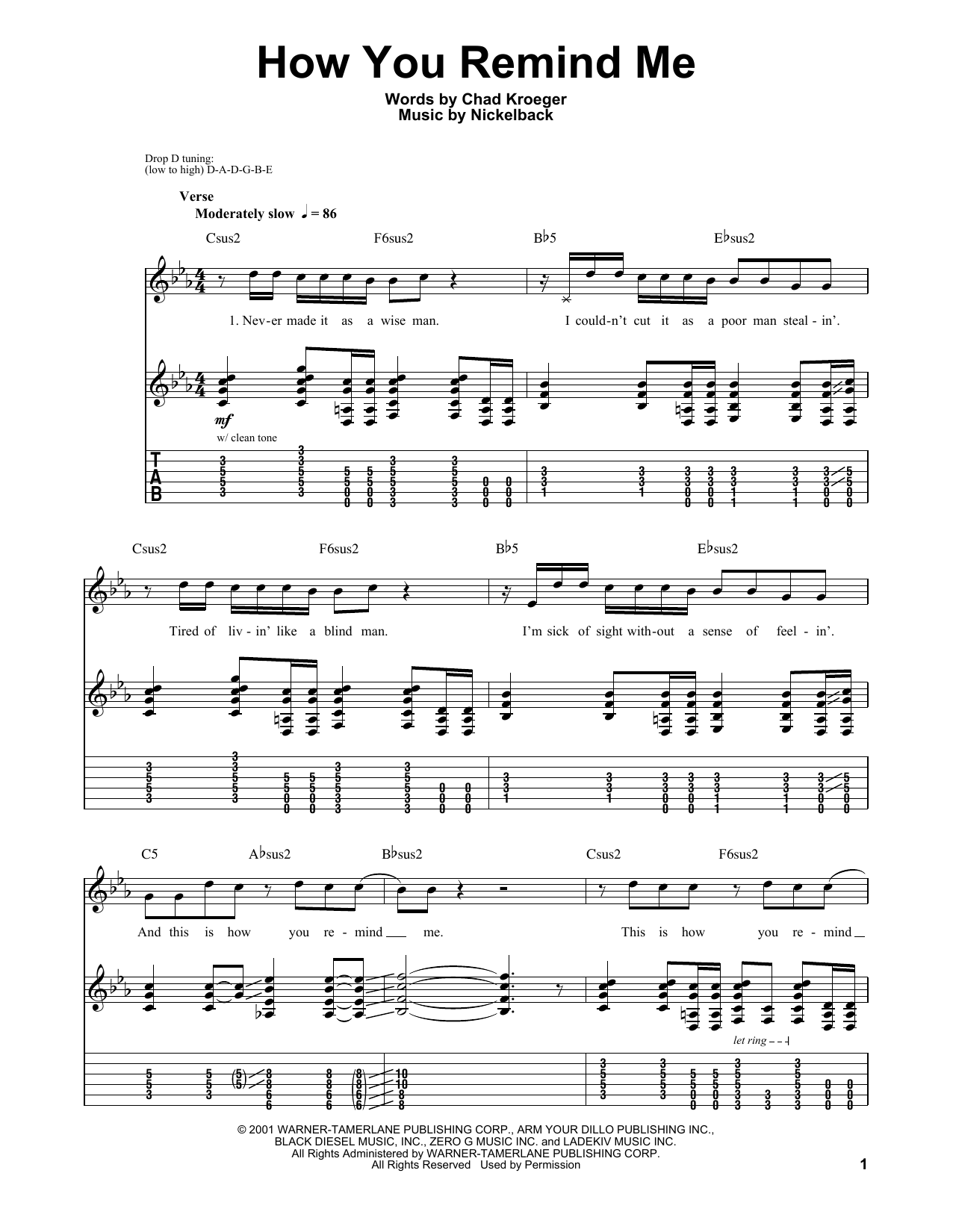 How You Remind Me Sheet Music