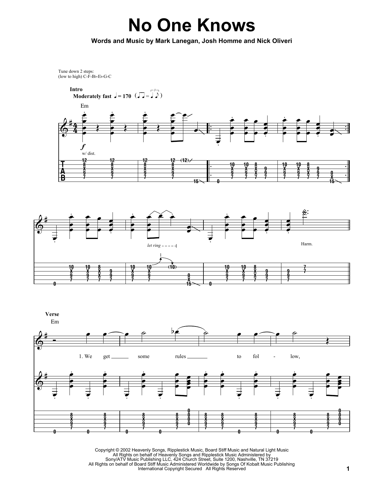 No One Knows Sheet Music