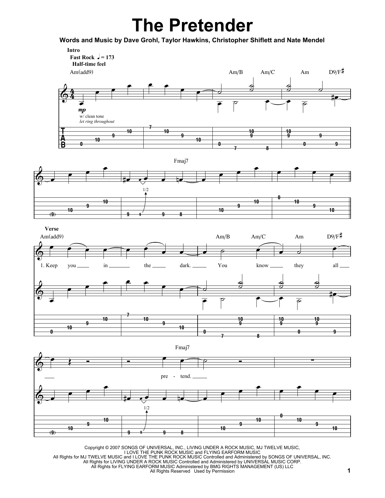 The Pretender (Guitar Tab (Single Guitar))