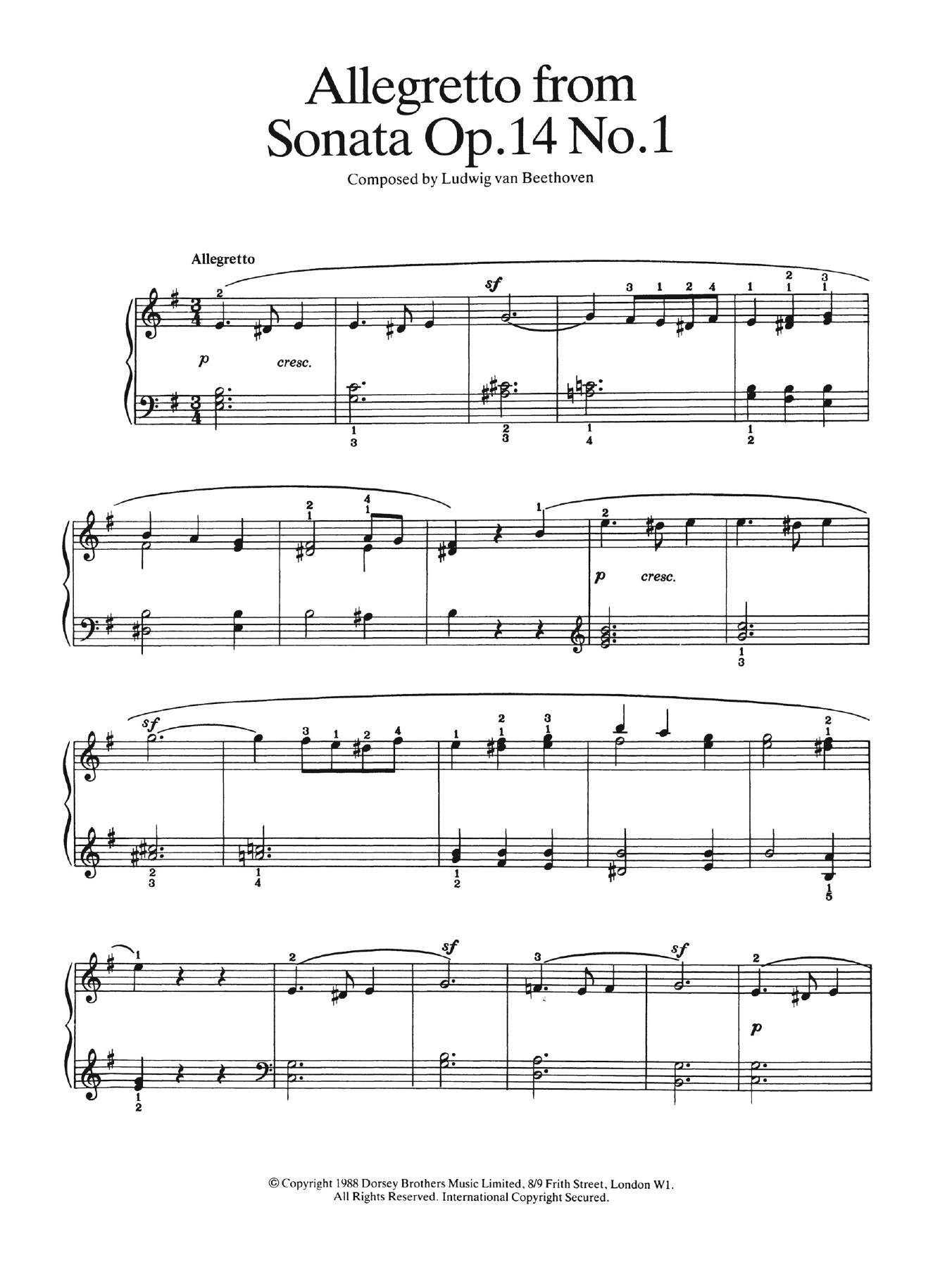 Allegretto from Sonata Op. 14, No. 1 Partituras Digitales