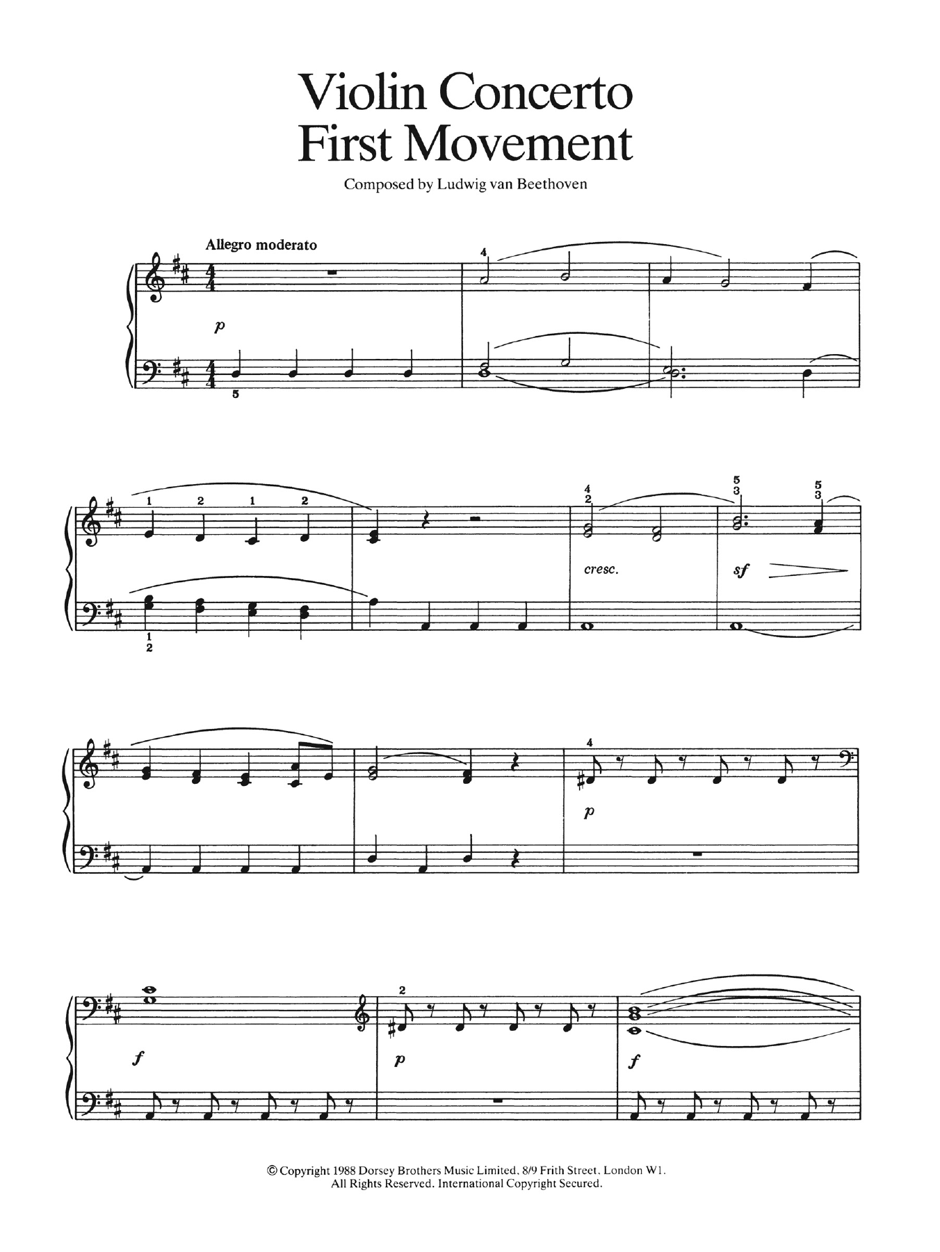 First Movement (from Violin Concerto In D Major, Op. 61) Sheet Music