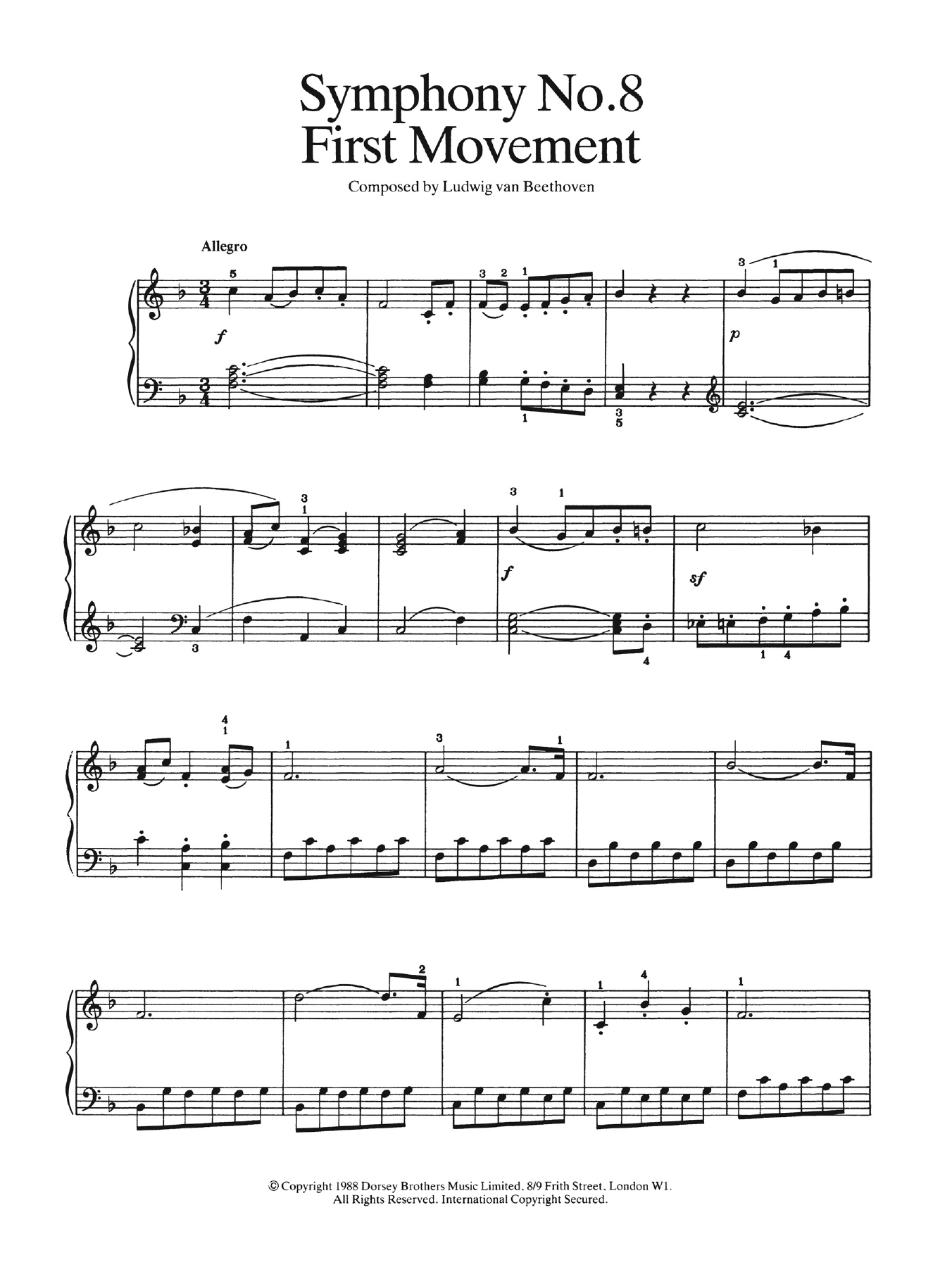 First Movement (from Symphony No. 8 In F Major, Op. 93) Sheet Music