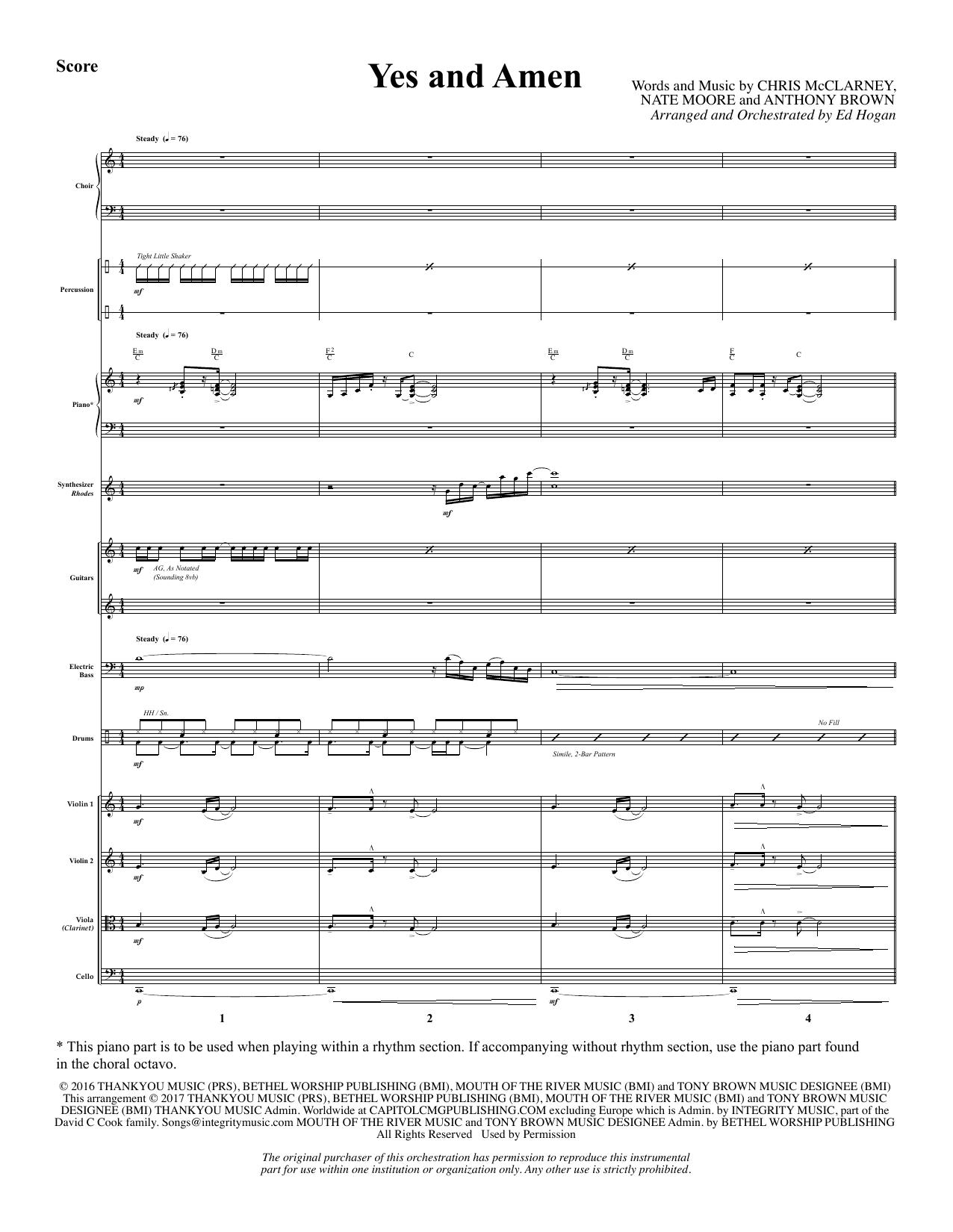 Yes and Amen - Full Score (Choir Instrumental Pak)
