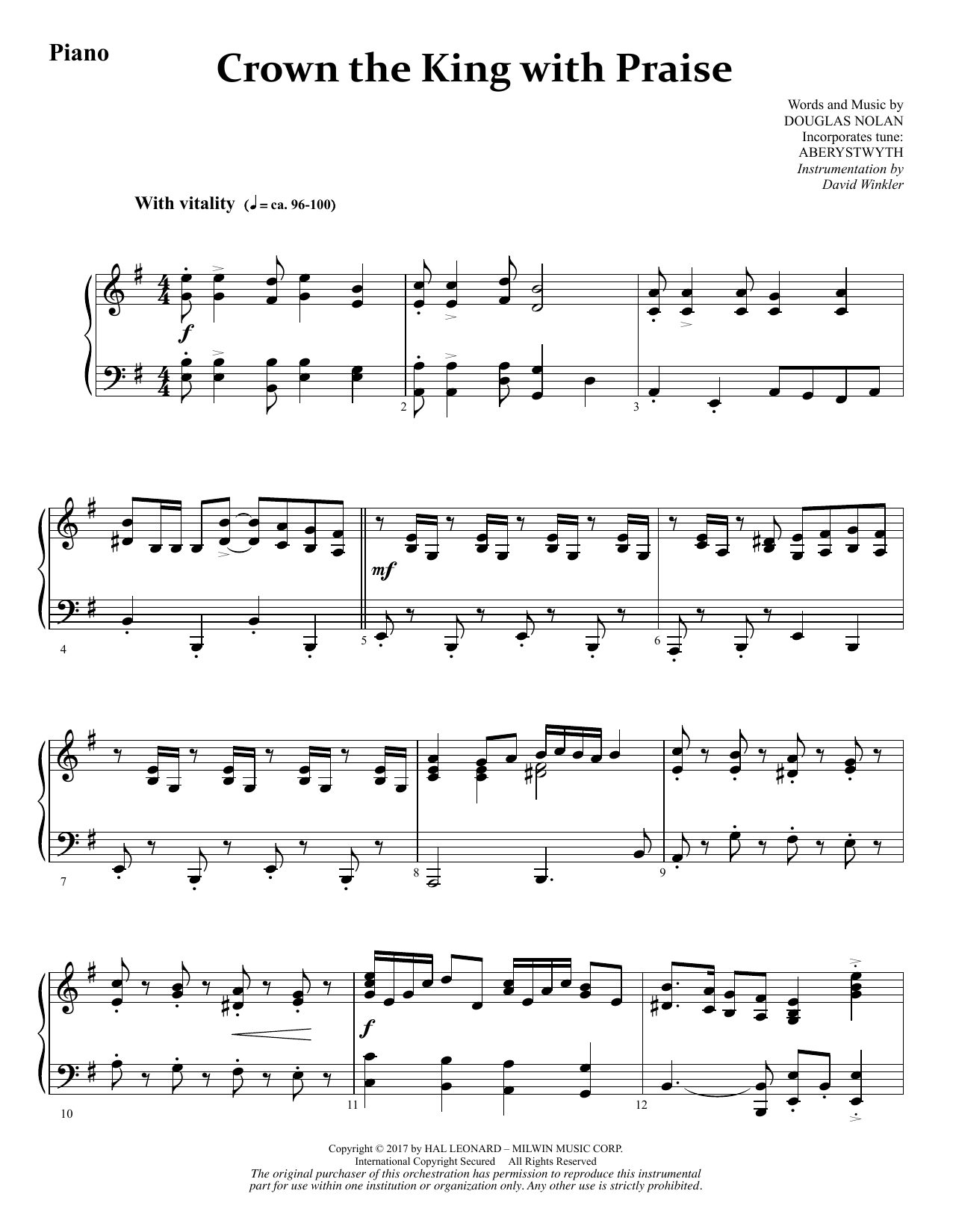 Crown the King with Praise - Piano (Choir Instrumental Pak)