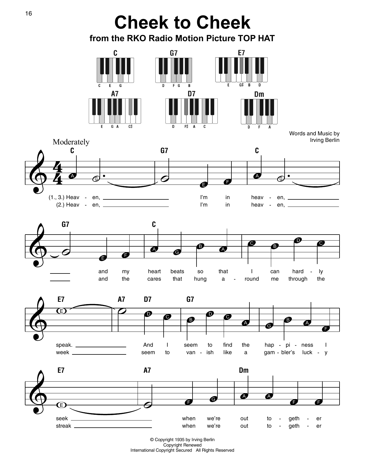 Cheek To Cheek Sheet Music