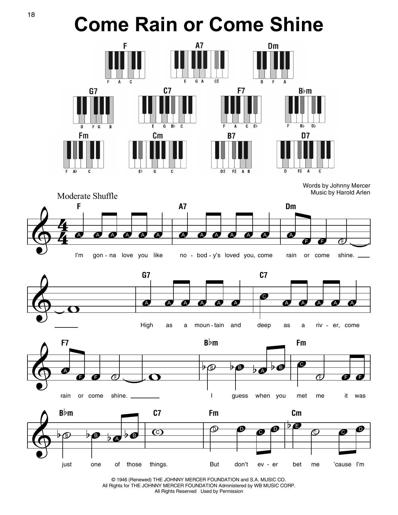 Come Rain Or Come Shine (Super Easy Piano)