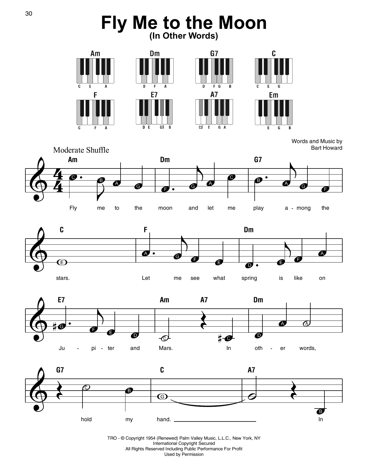fly me to the moon easy piano sheet music free
