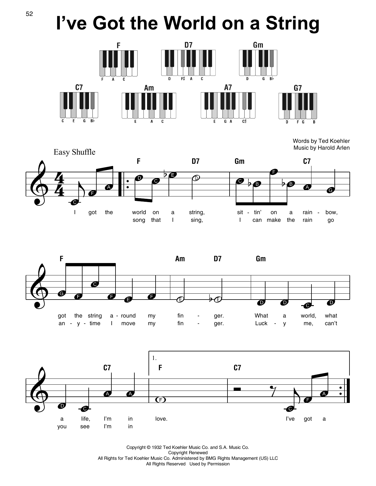 I've Got The World On A String Sheet Music