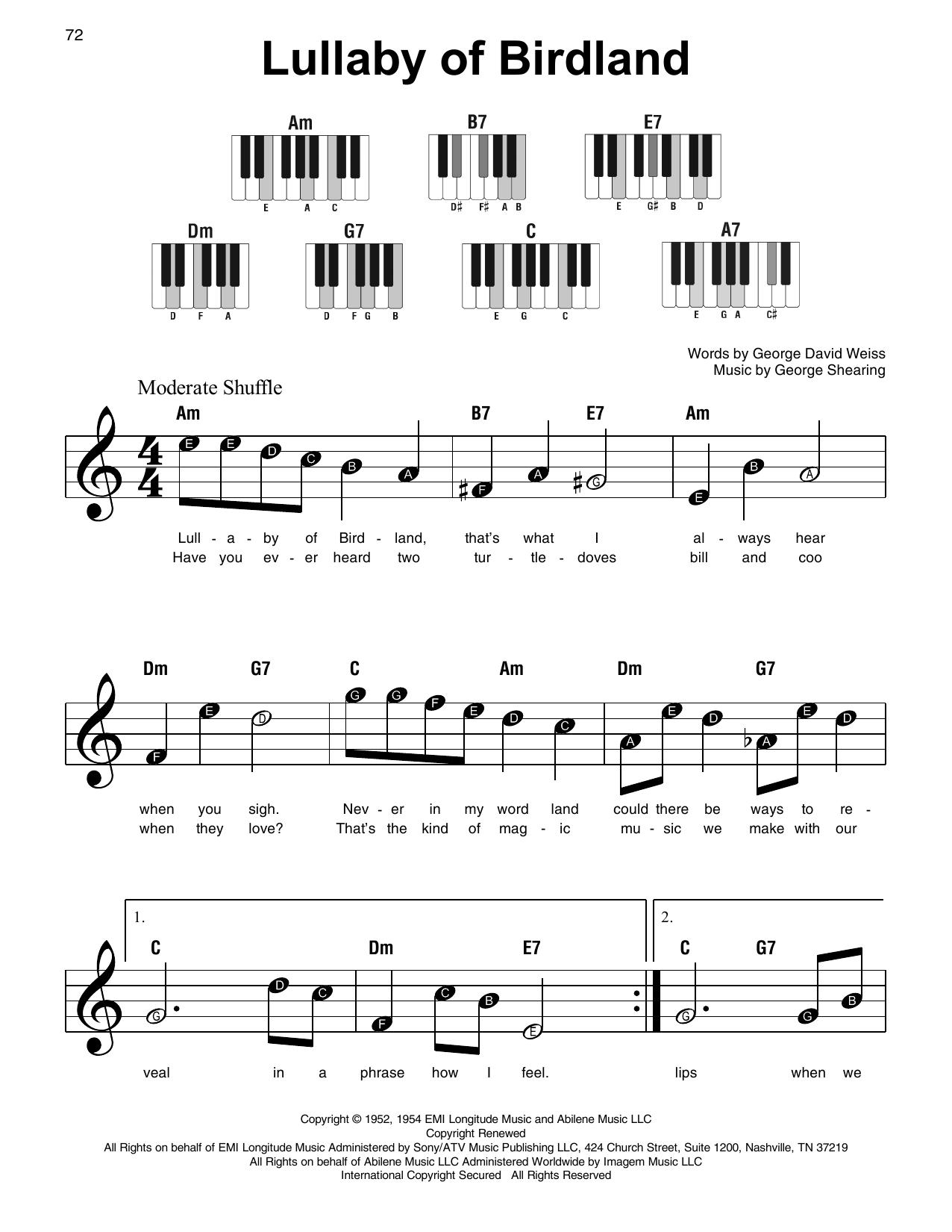 Lullaby Of Birdland (Super Easy Piano)