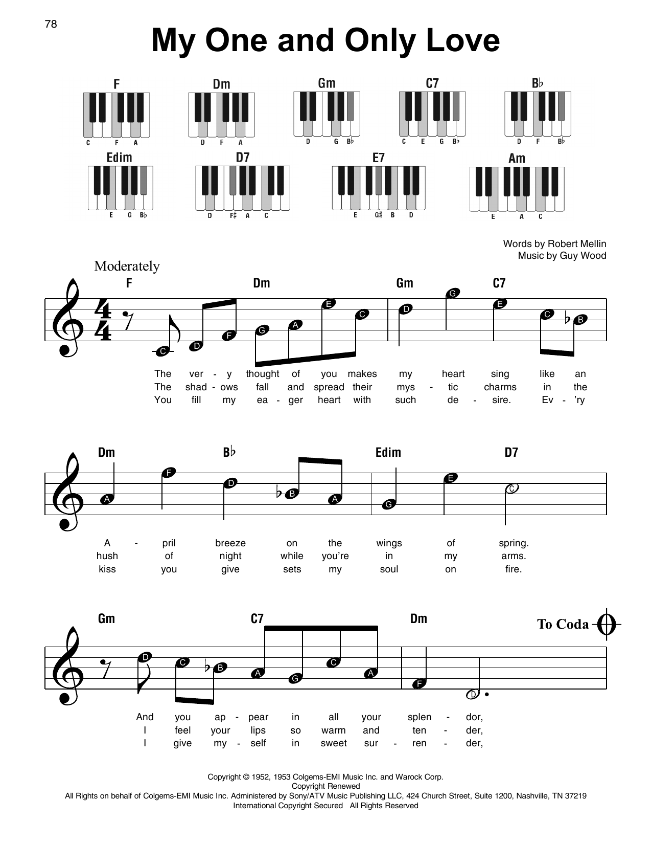 My One And Only Love Sheet Music