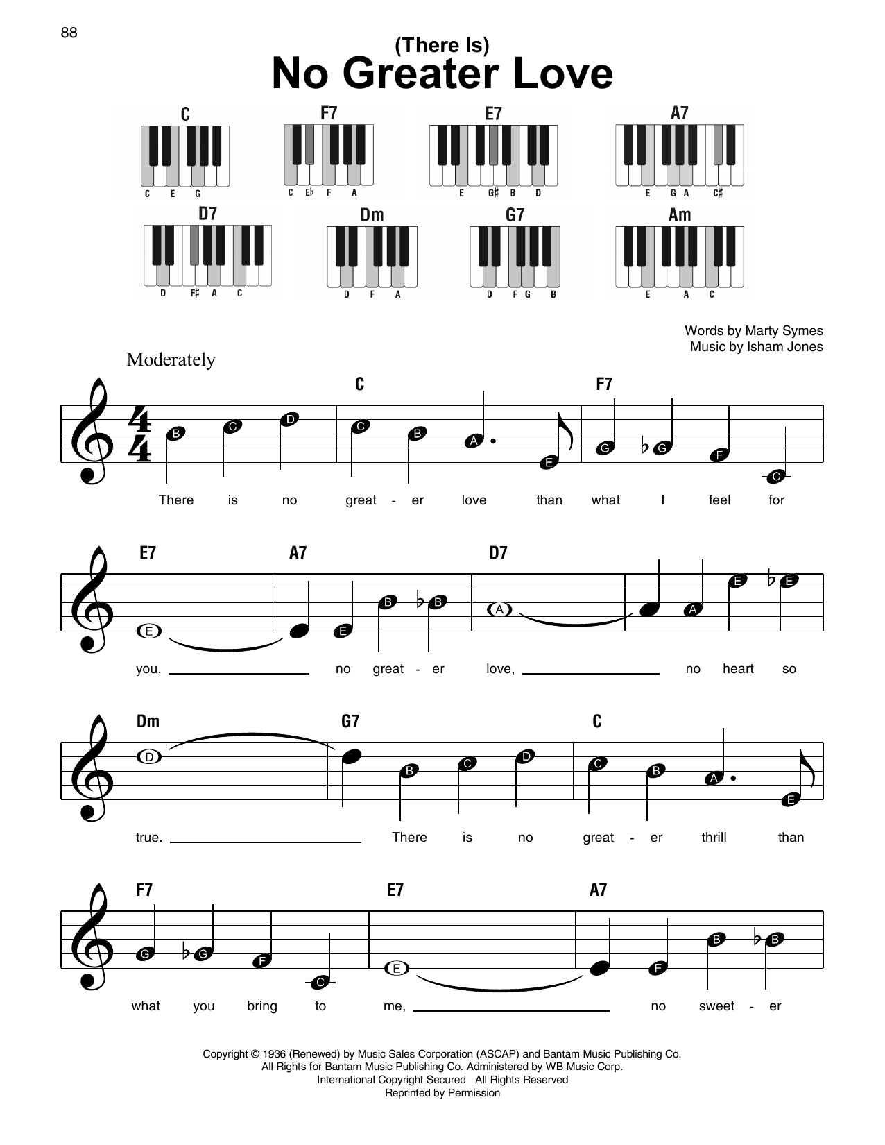 (There Is) No Greater Love (Super Easy Piano)