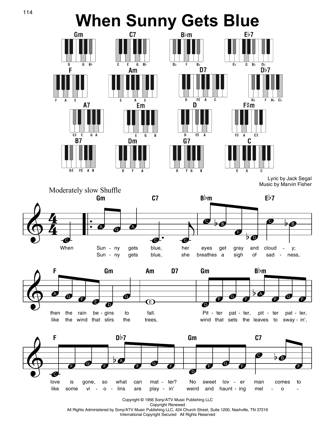 When Sunny Gets Blue Sheet Music