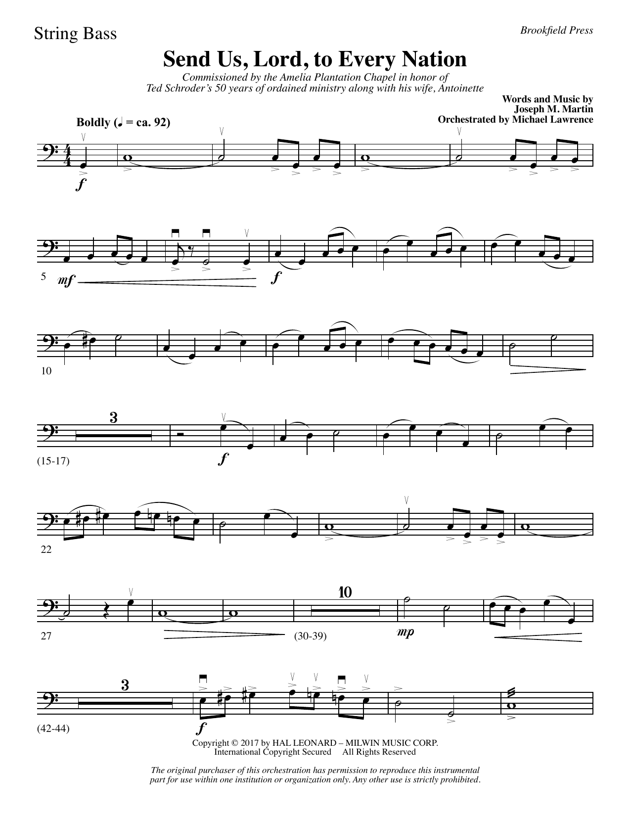 Send Us, Lord, to Every Nation - String Bass (Choir Instrumental Pak)
