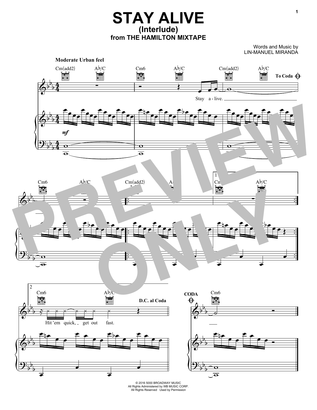 Stay Alive (Interlude) (Piano, Vocal & Guitar (Right-Hand Melody))