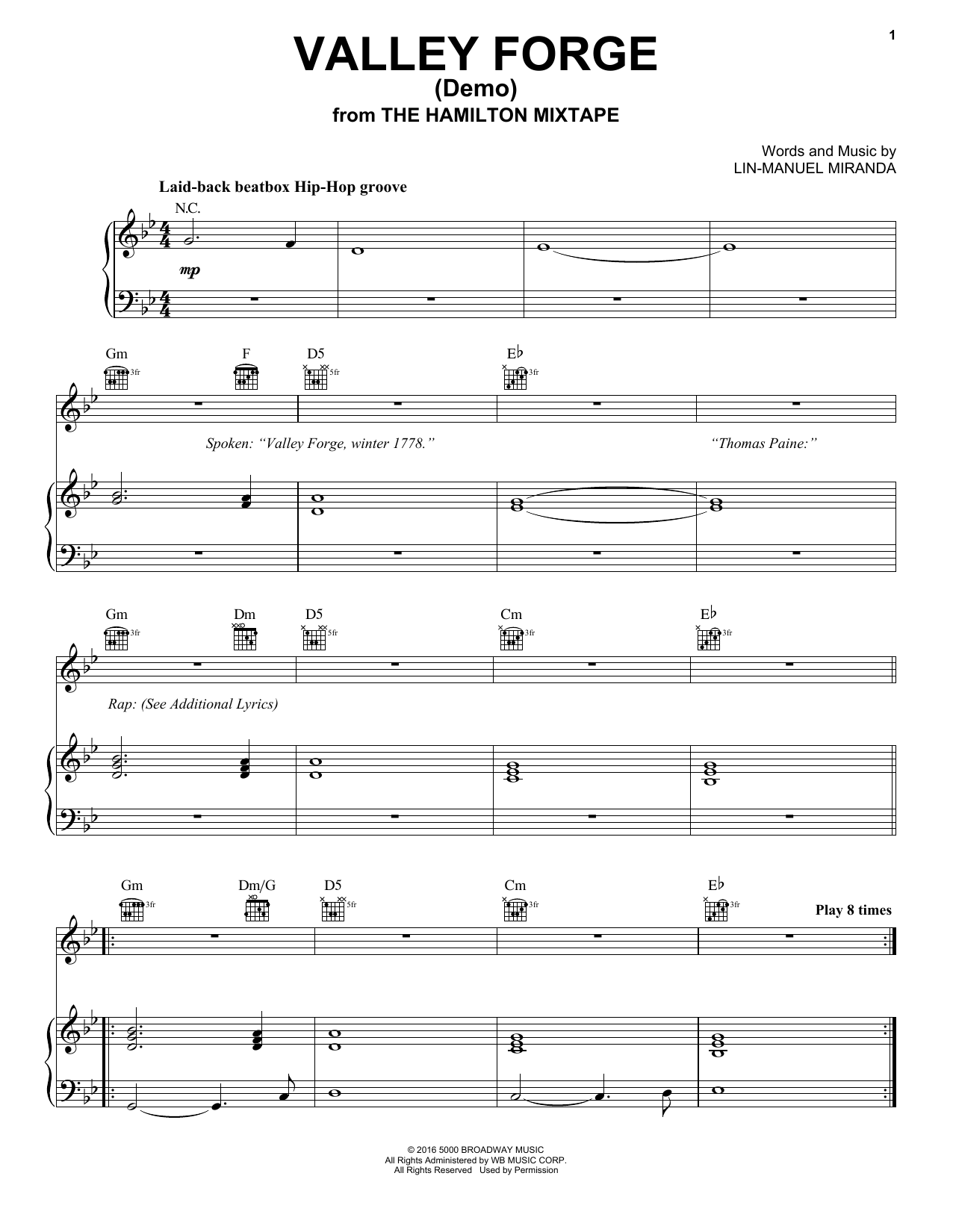 Valley Forge (Demo) (Piano, Vocal & Guitar (Right-Hand Melody))