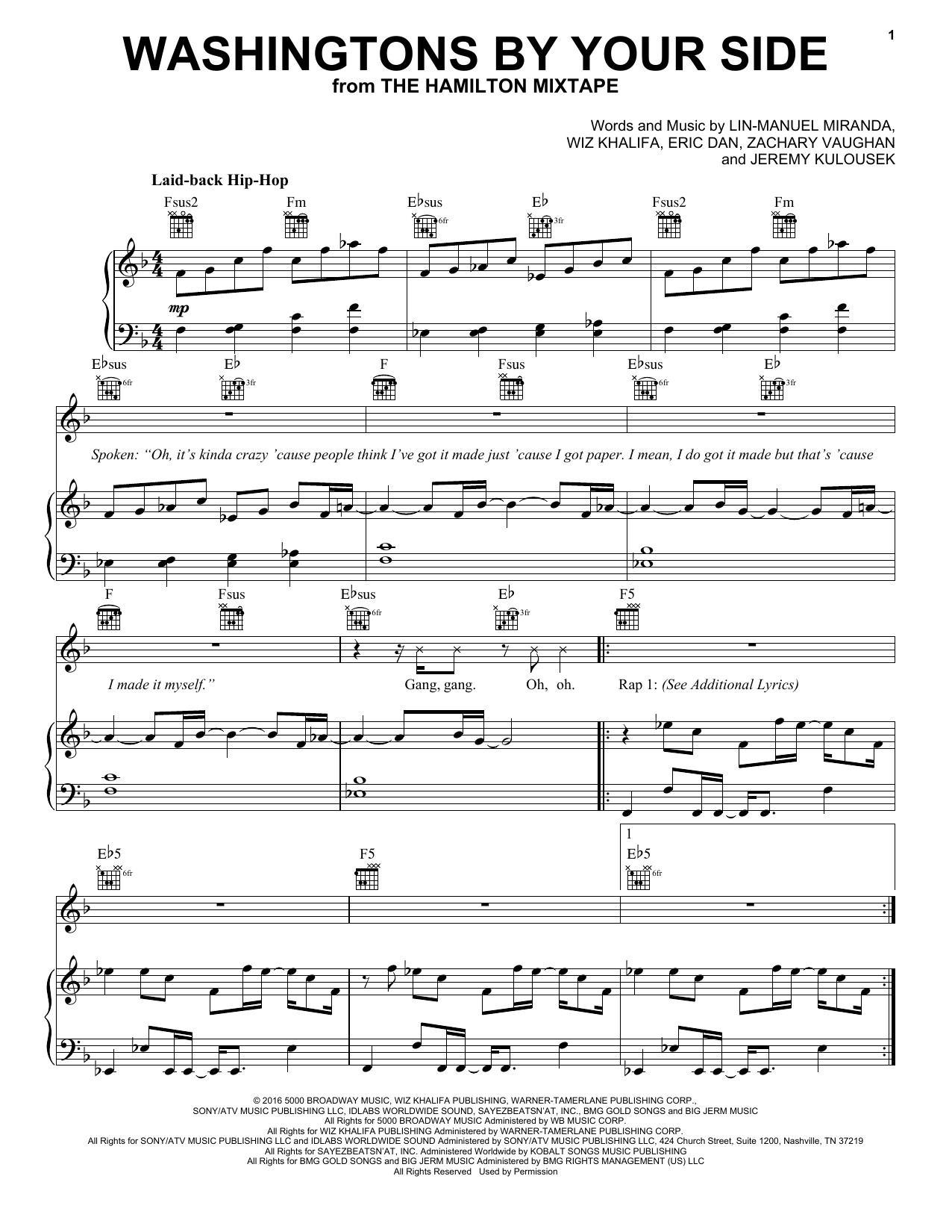 Washingtons By Your Side (Piano, Vocal & Guitar (Right-Hand Melody))