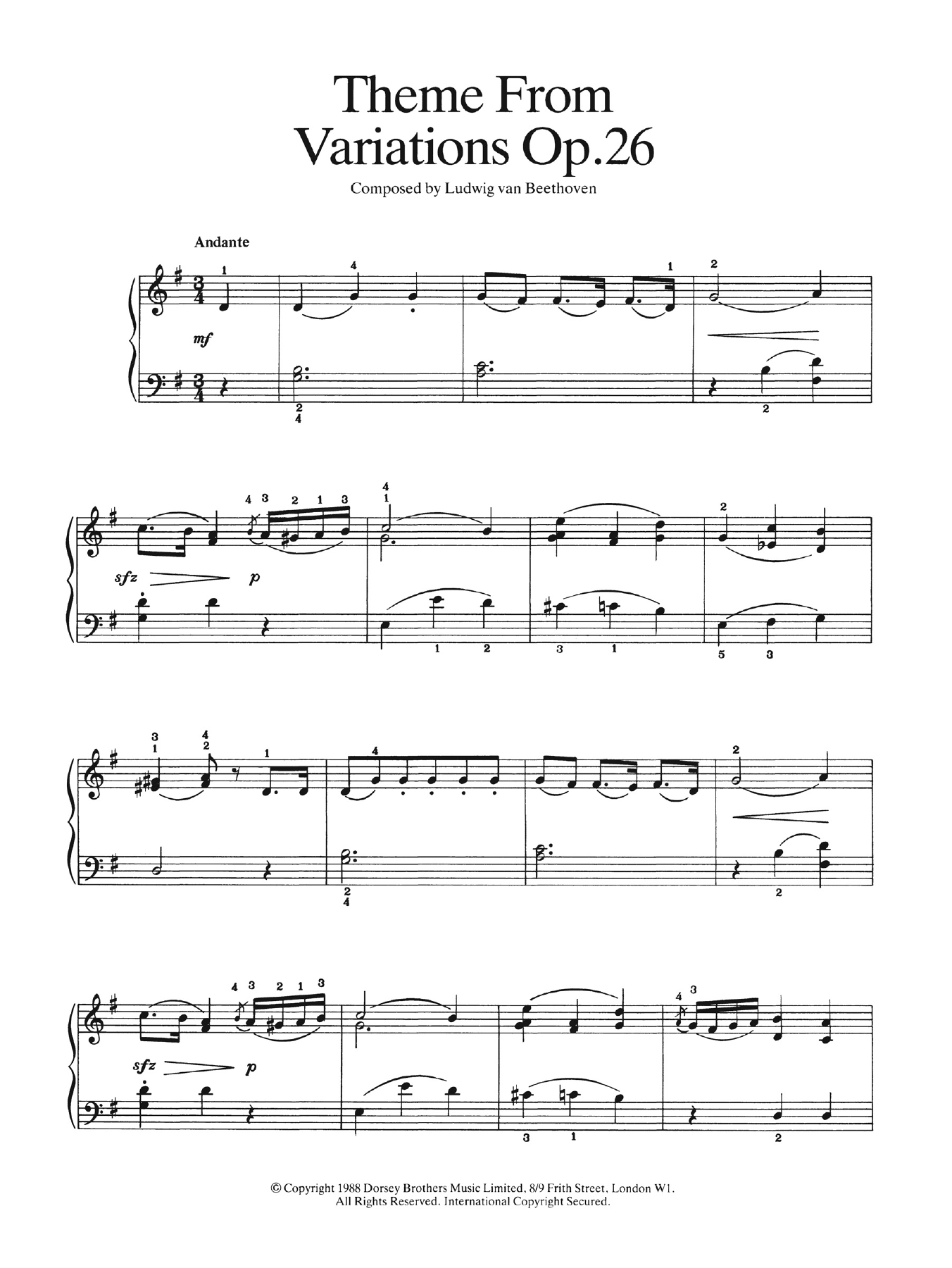 Theme from Variations Op. 26 Partituras Digitales