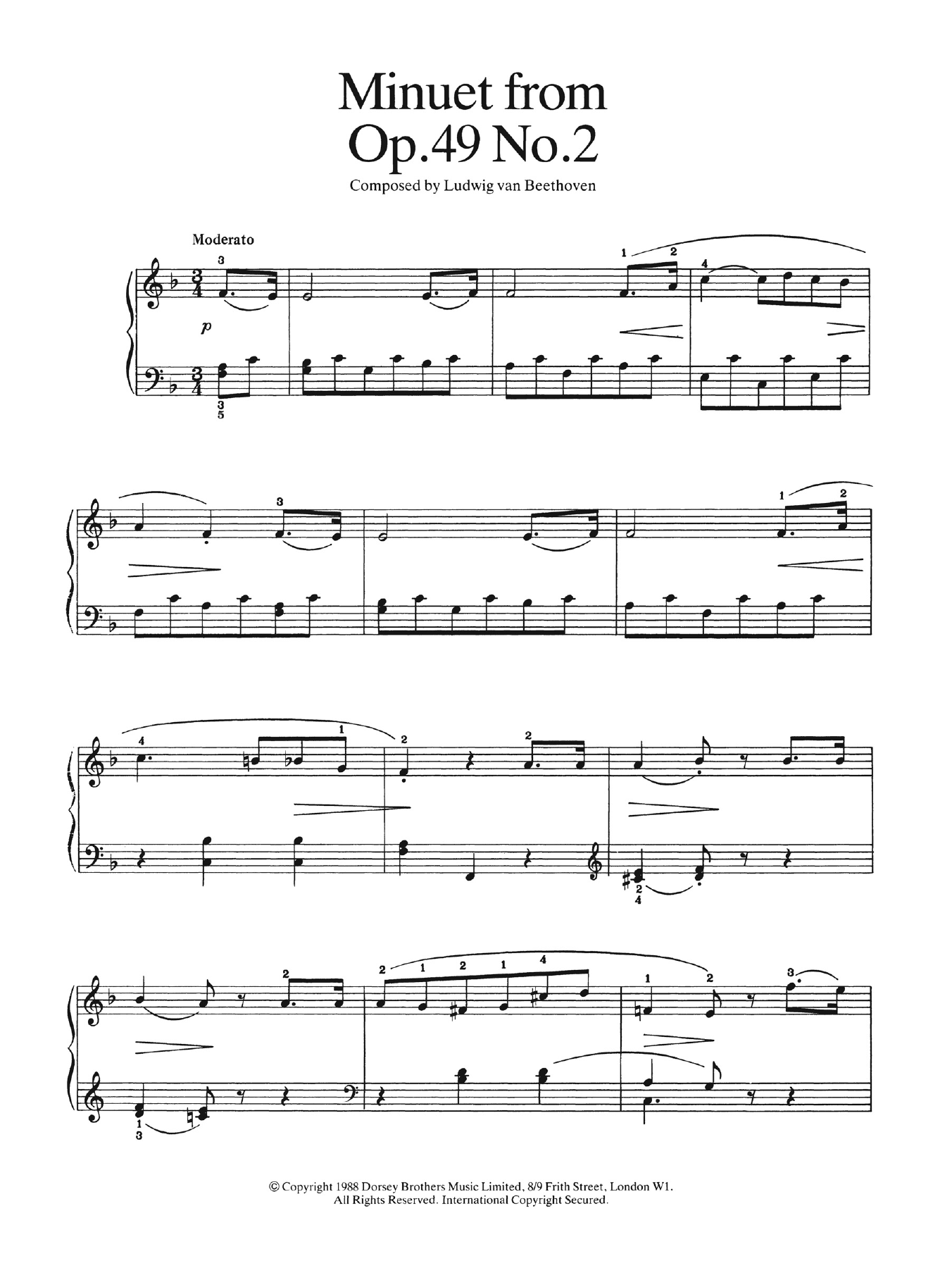 Minuet from Op  49, No 2 by Ludwig van Beethoven Easy Piano Digital Sheet  Music