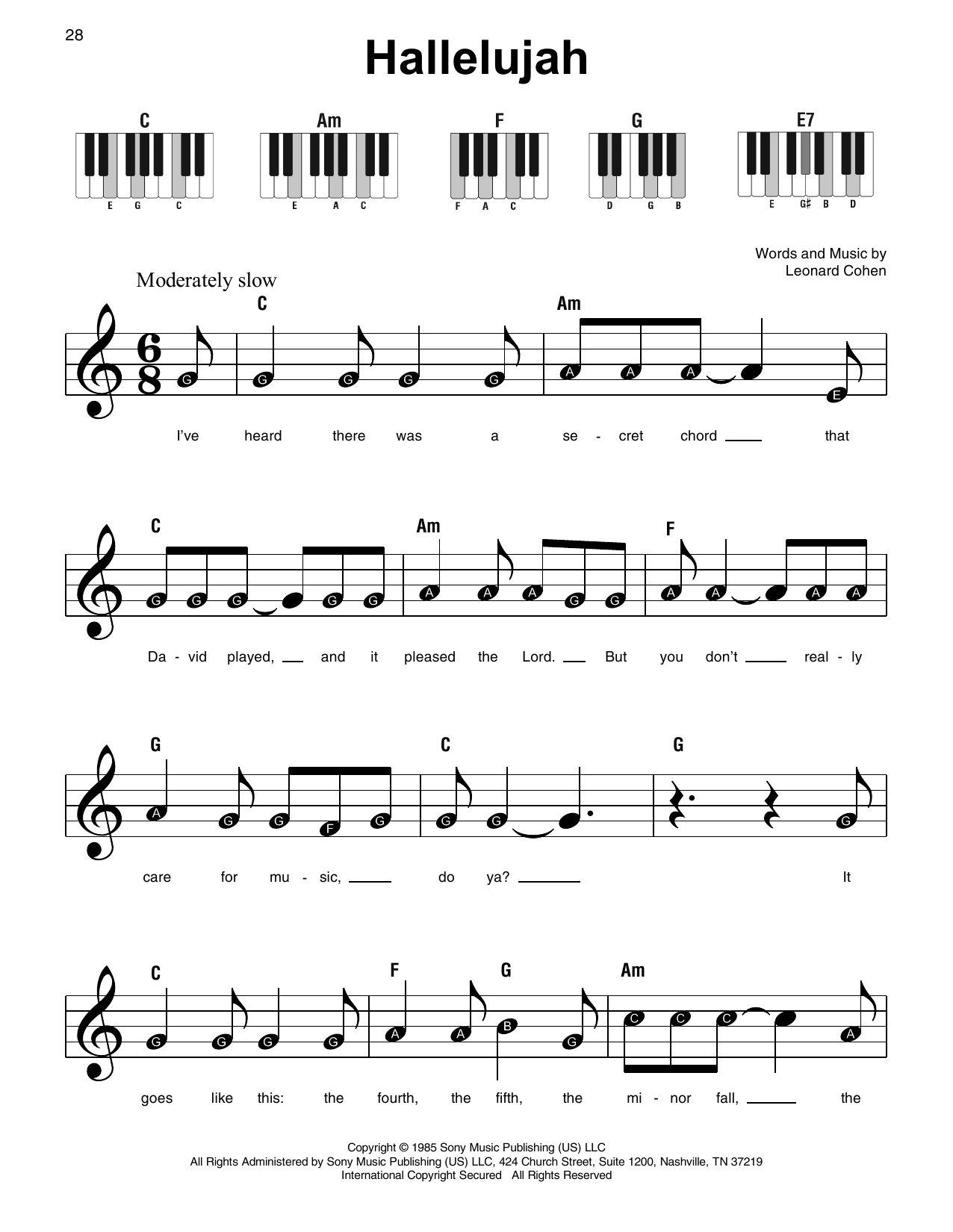 /'Hallelujah/' by Leonard Cohen Piano Vocal Sheet Music