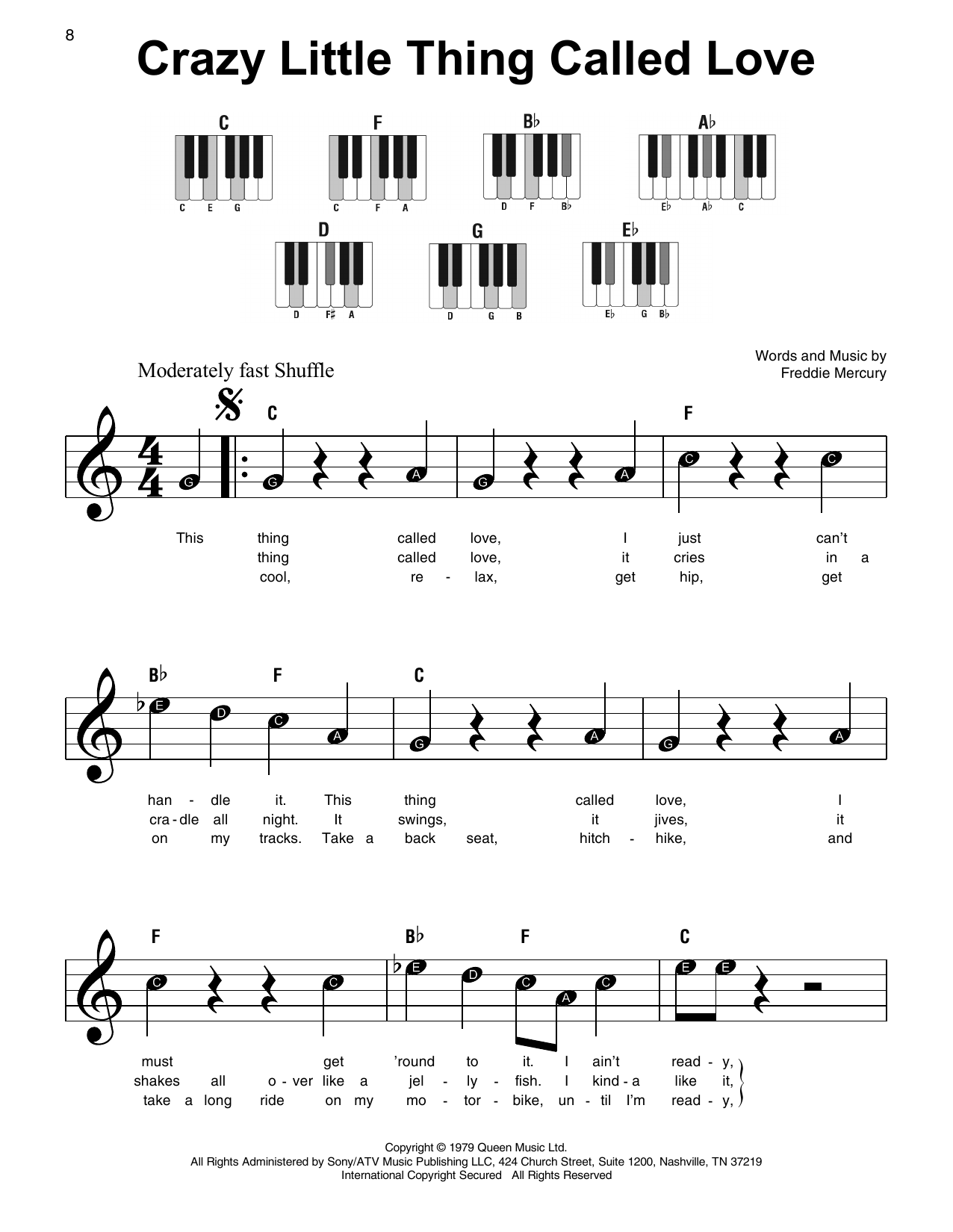 Crazy Little Thing Called Love Sheet Music By Queen Super Easy