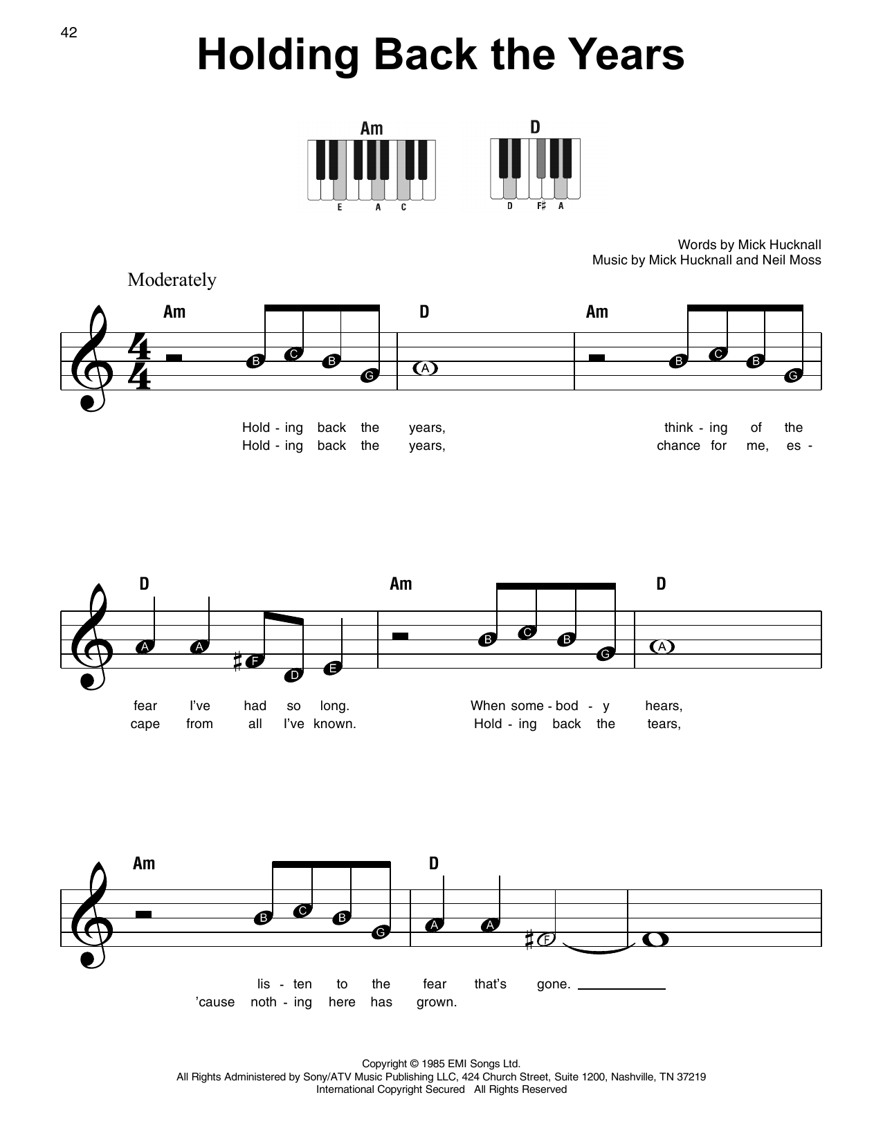 Holding Back The Years Sheet Music
