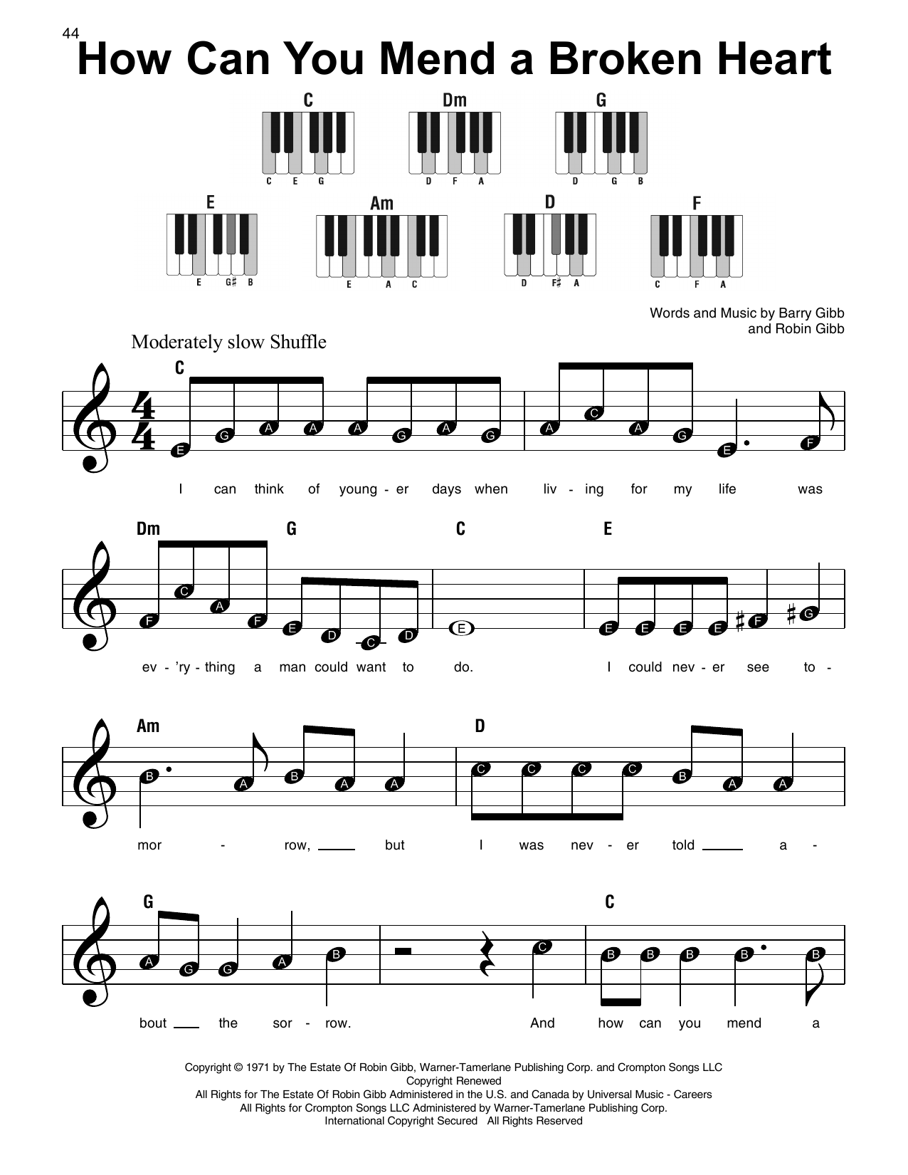How Can You Mend A Broken Heart Sheet Music