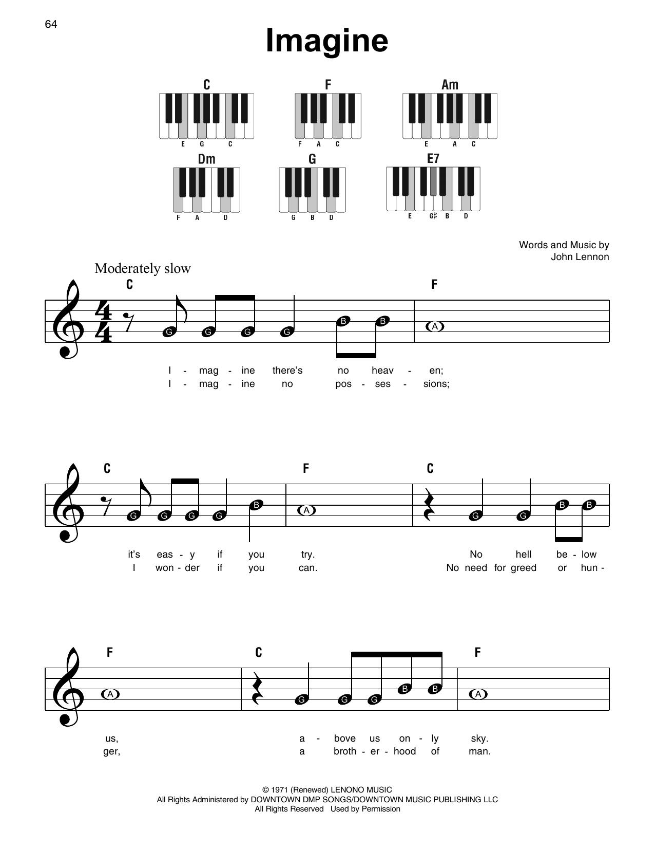 Imagine Sheet Music